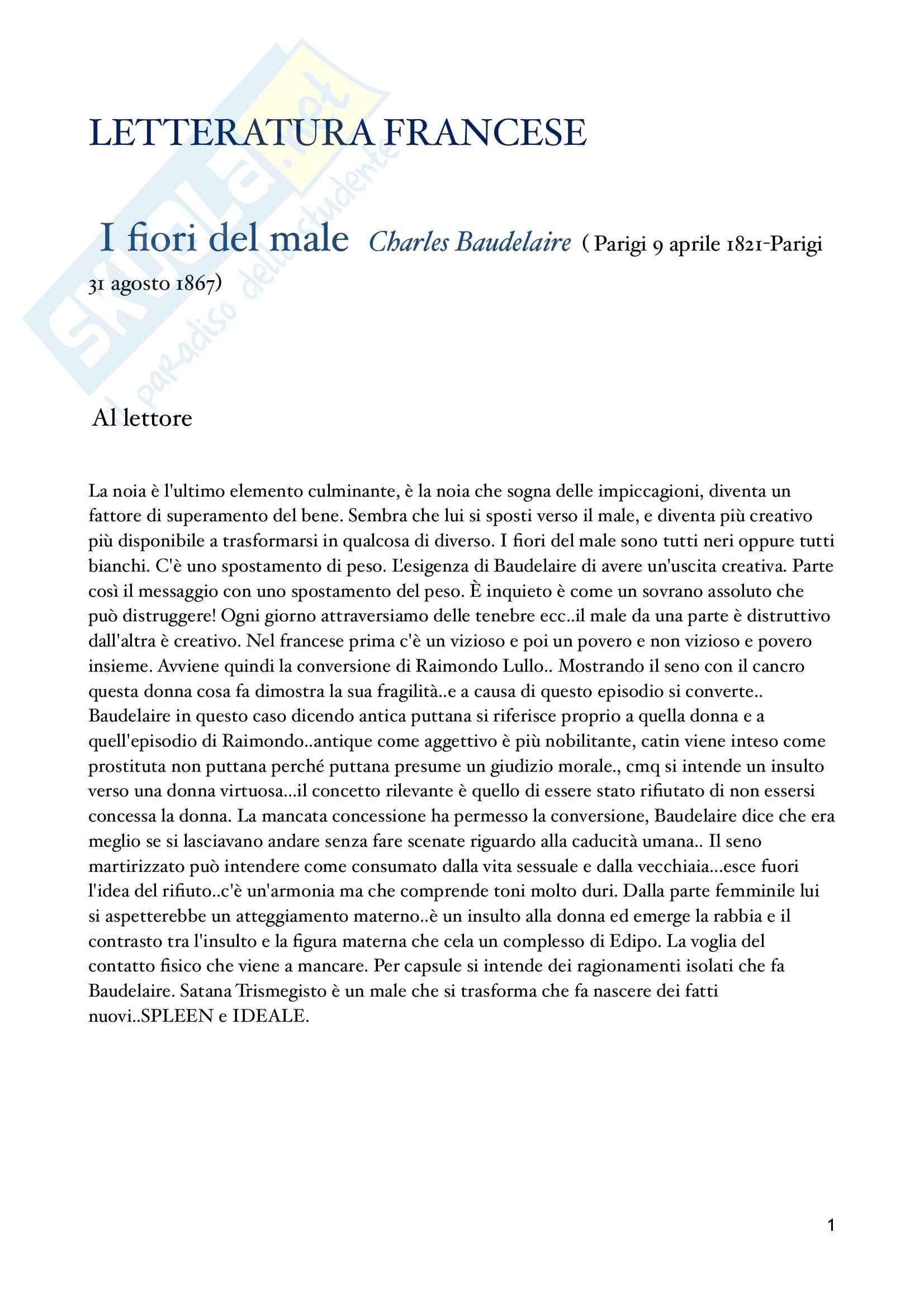 Letteratura francese Baudelaire