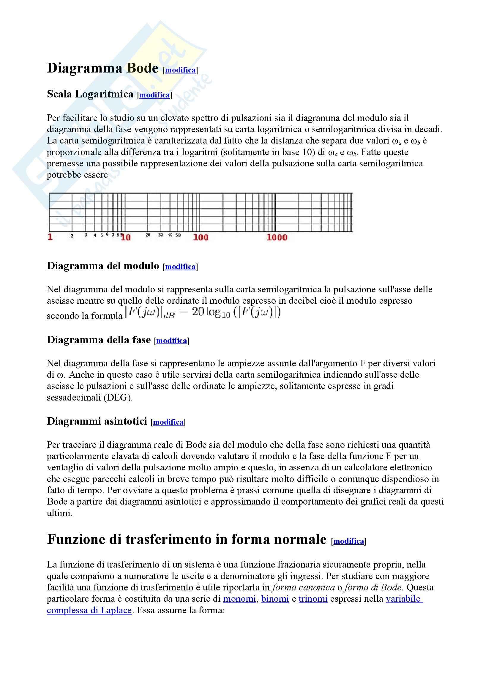 Teoria dei sistemi - diagrammi di Bode