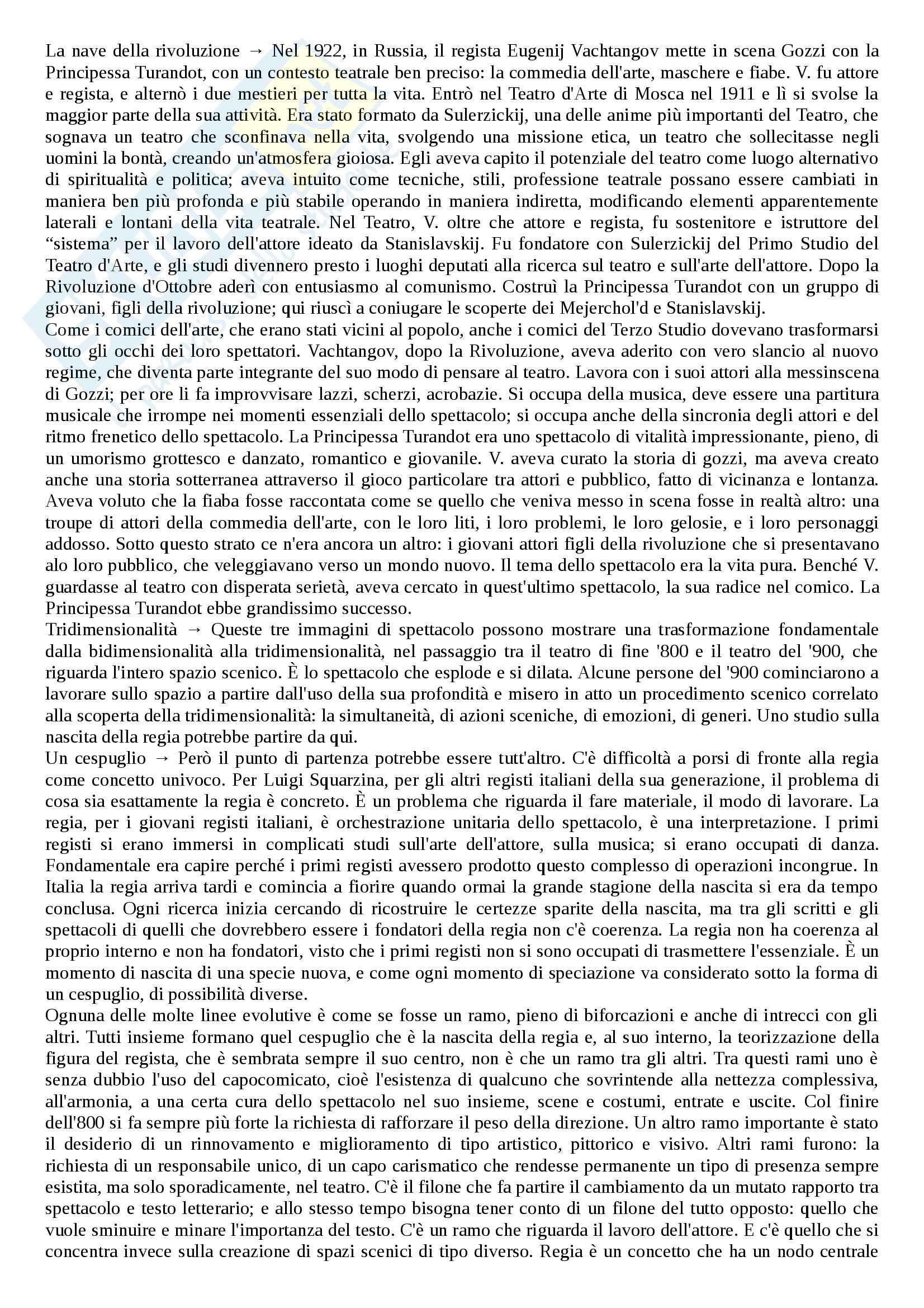 Riassunto esame Storia del tetro contemporaneo, prof. Megale, libro consigliato La nascita della regia teatrale, Schino Pag. 2