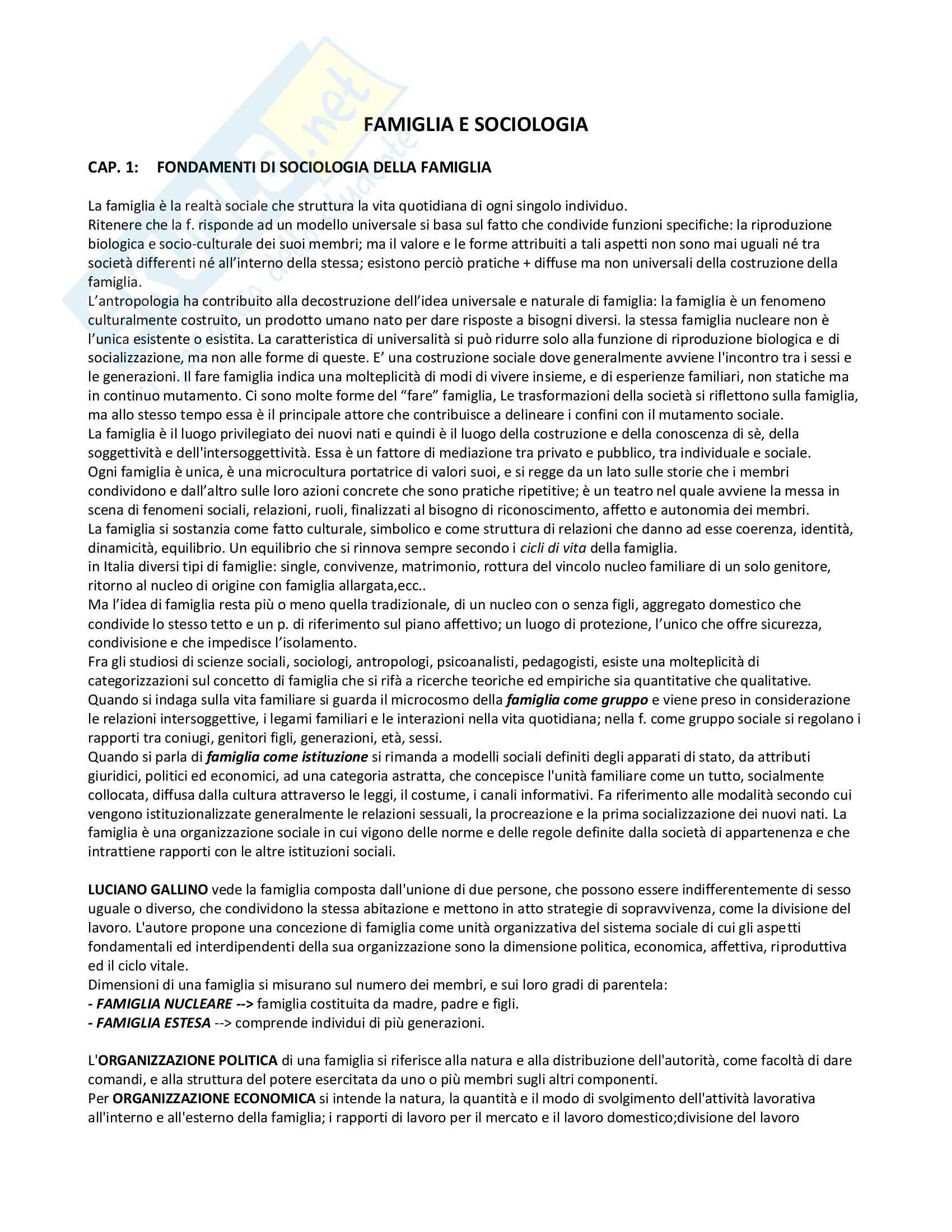 Riassunto esame Sociologia della famiglia, prof. Censi, libro consigliato Famiglia e Sociologia, Censi