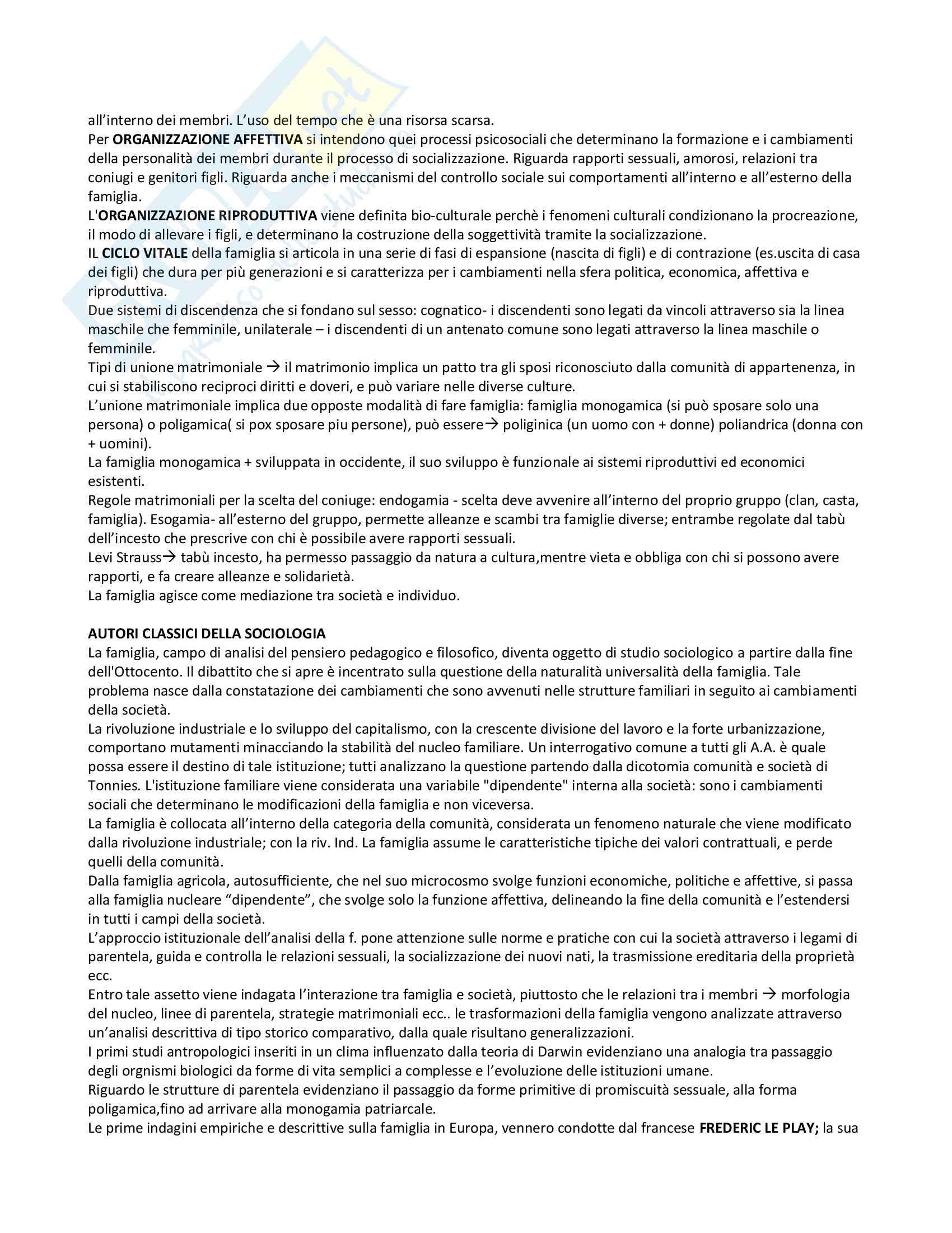 Riassunto esame Sociologia della famiglia, prof. Censi, libro consigliato Famiglia e Sociologia, Censi Pag. 2