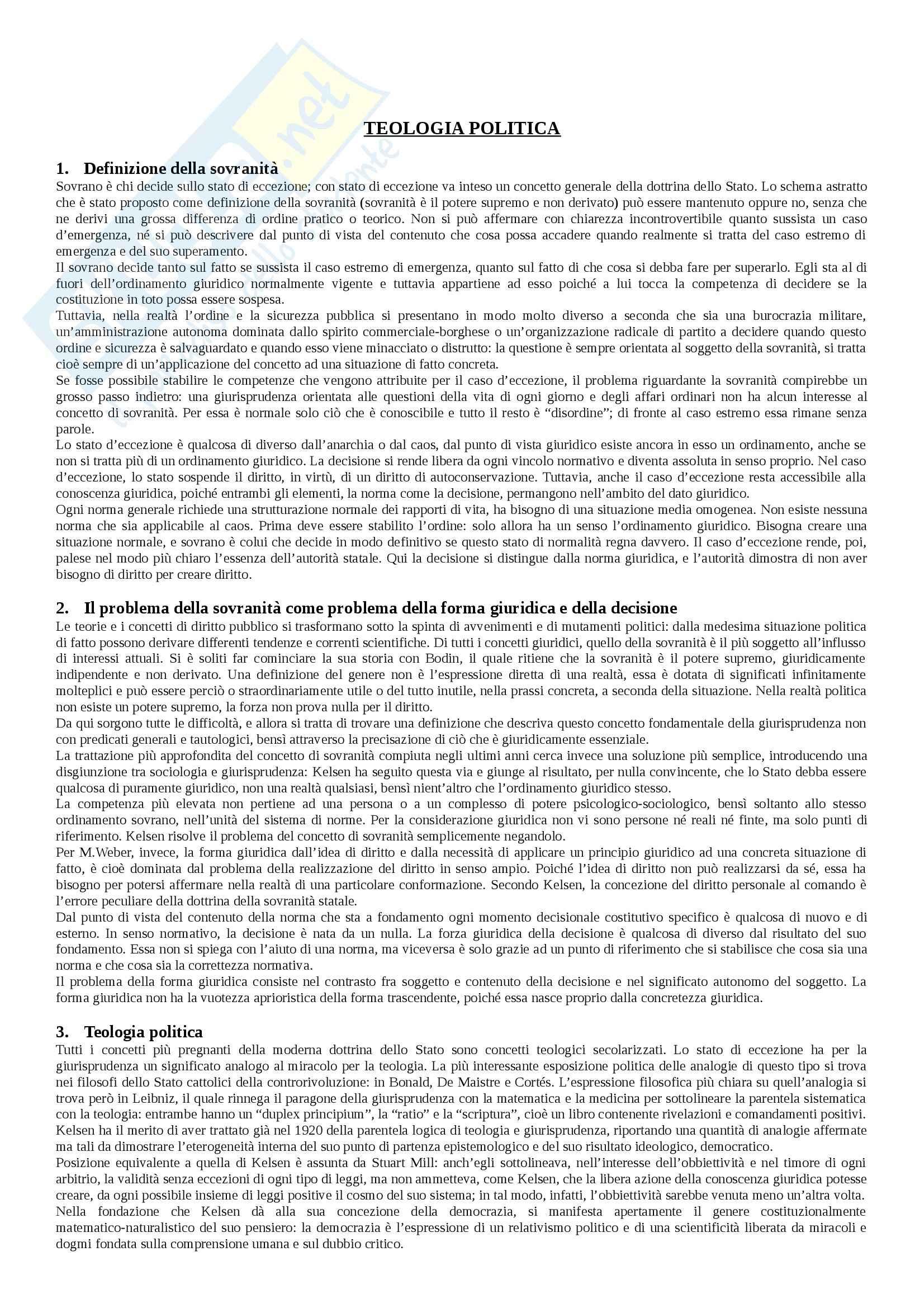 Riassunto esame Scienza Politica, prof. Papa, libro consigliato Le Categorie del Politico, Schmitt