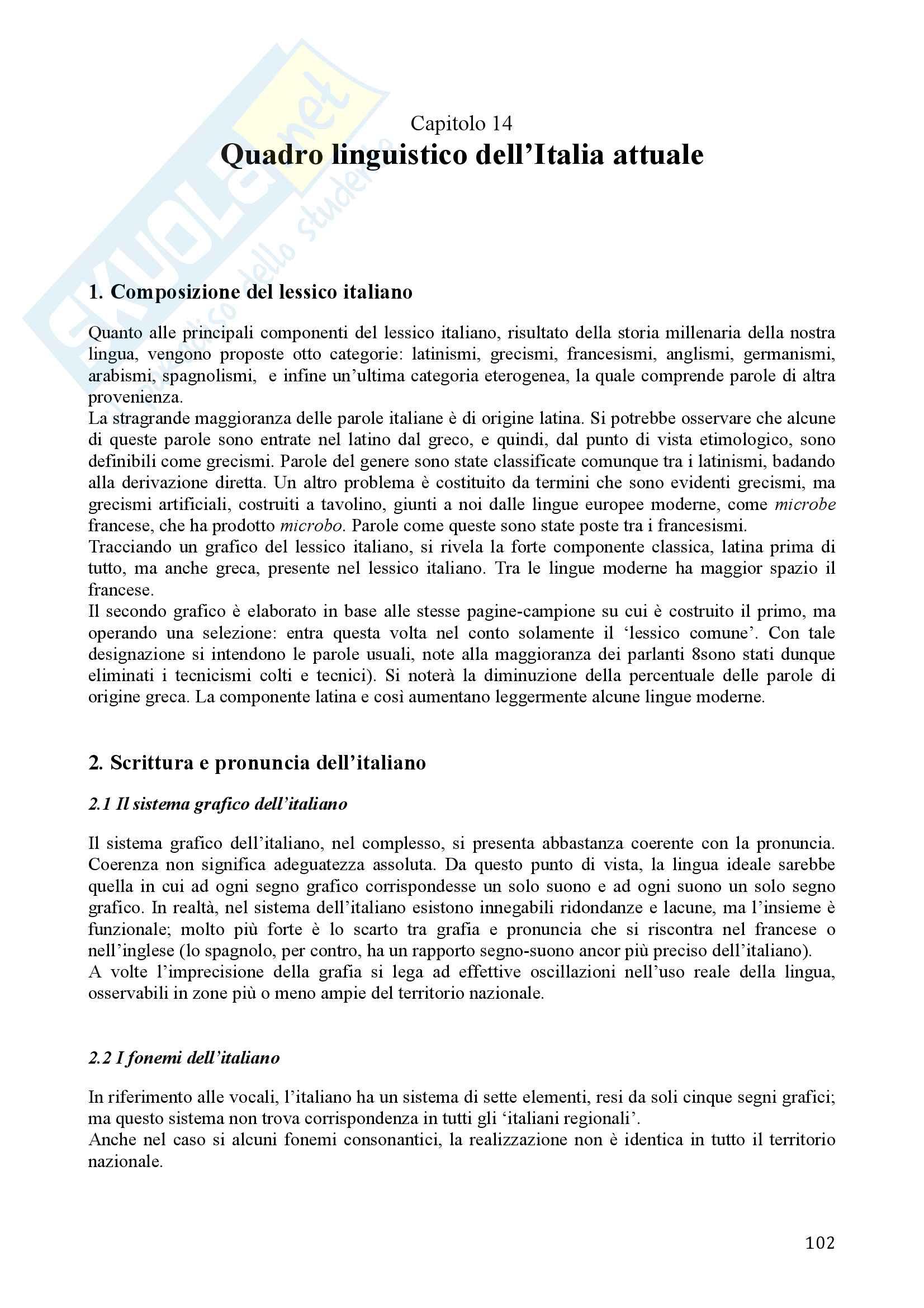 Riassunto esame Storia della lingua italiana, prof. Balducci - prof.ssa Mancini, libro consigliato La lingua italiana, Marazzini Pag. 101