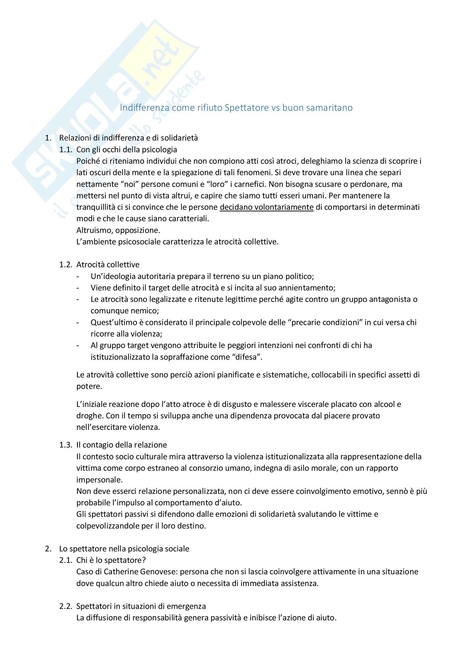 Riassunto esame Relazioni interpersonali, prof. Zamperini, libro consigliato Psicologia dell inerzia e della solidarietà