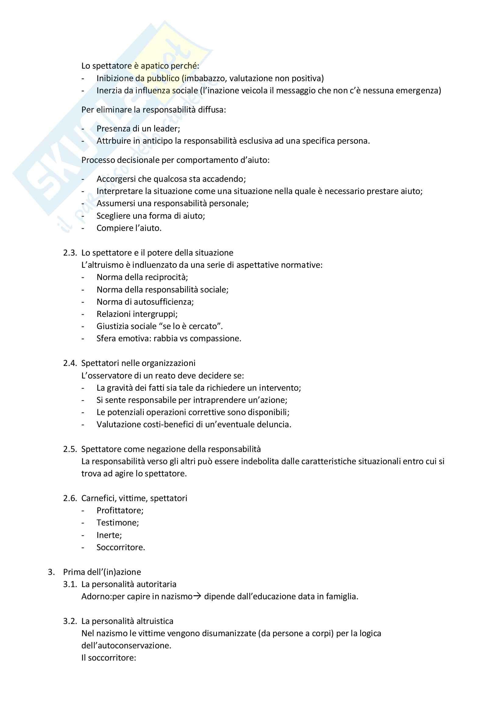 Riassunto esame Relazioni interpersonali, prof. Zamperini, libro consigliato Psicologia dell inerzia e della solidarietà Pag. 2