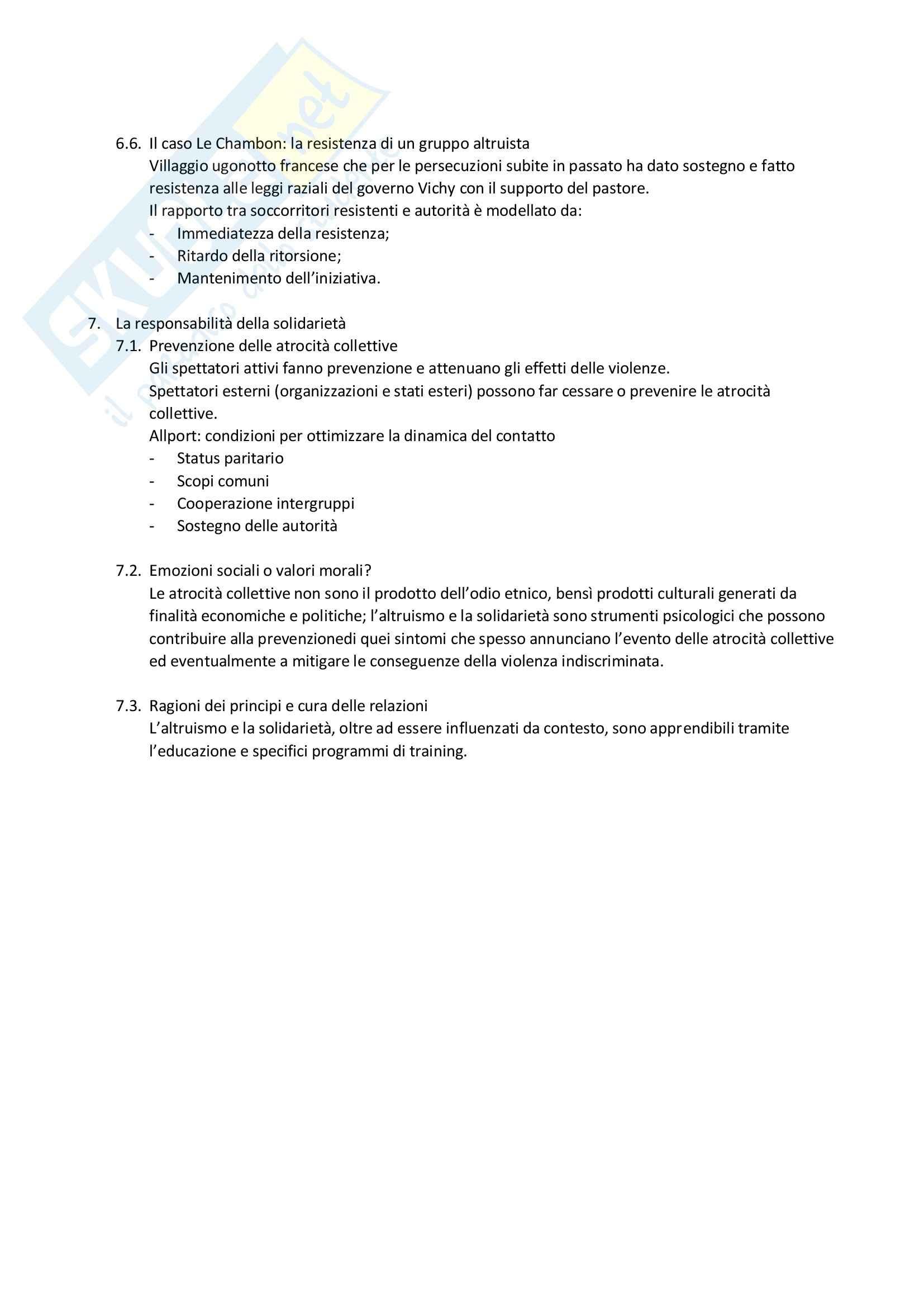 Riassunto esame Relazioni interpersonali, prof. Zamperini, libro consigliato Psicologia dell inerzia e della solidarietà Pag. 6