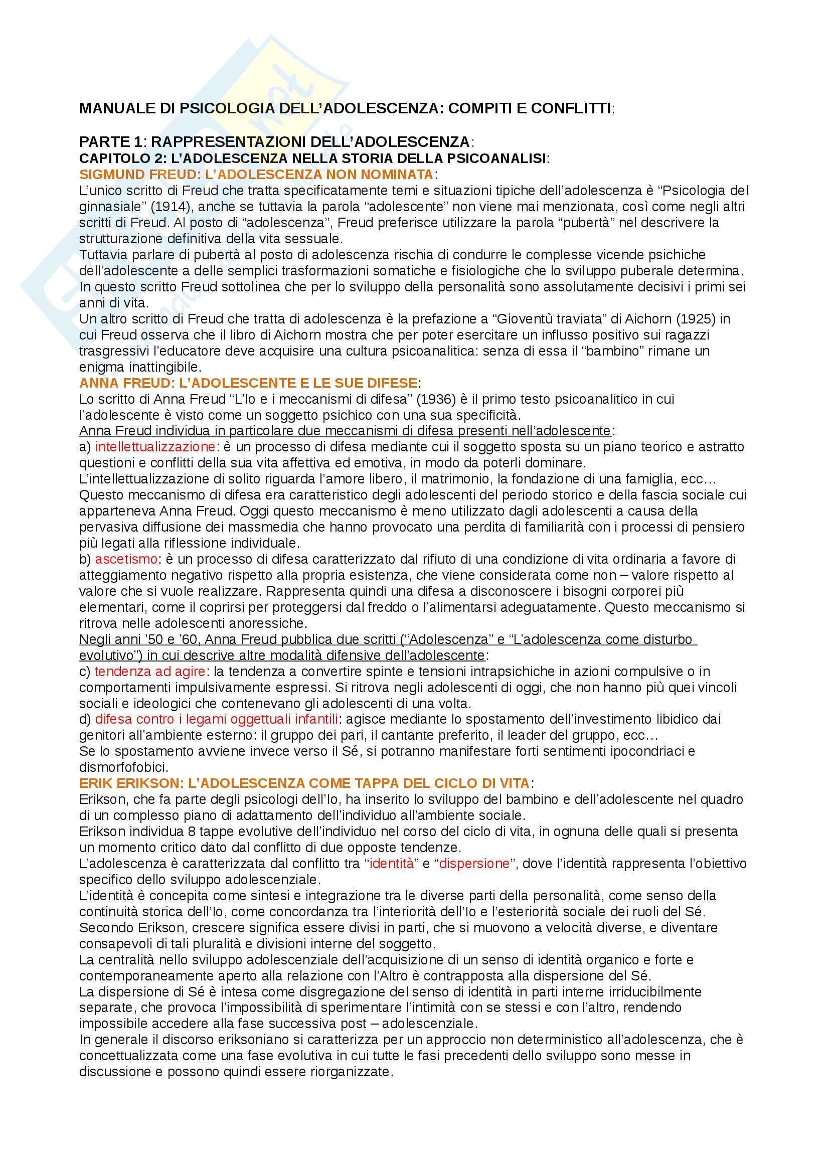 Riassunto esame psicologia del ciclo di vita, prof Maggiolini, libro consigliato Manuale di  psicologia dell'adolescenza - compiti e conflitti, Maggiolini, Charmet