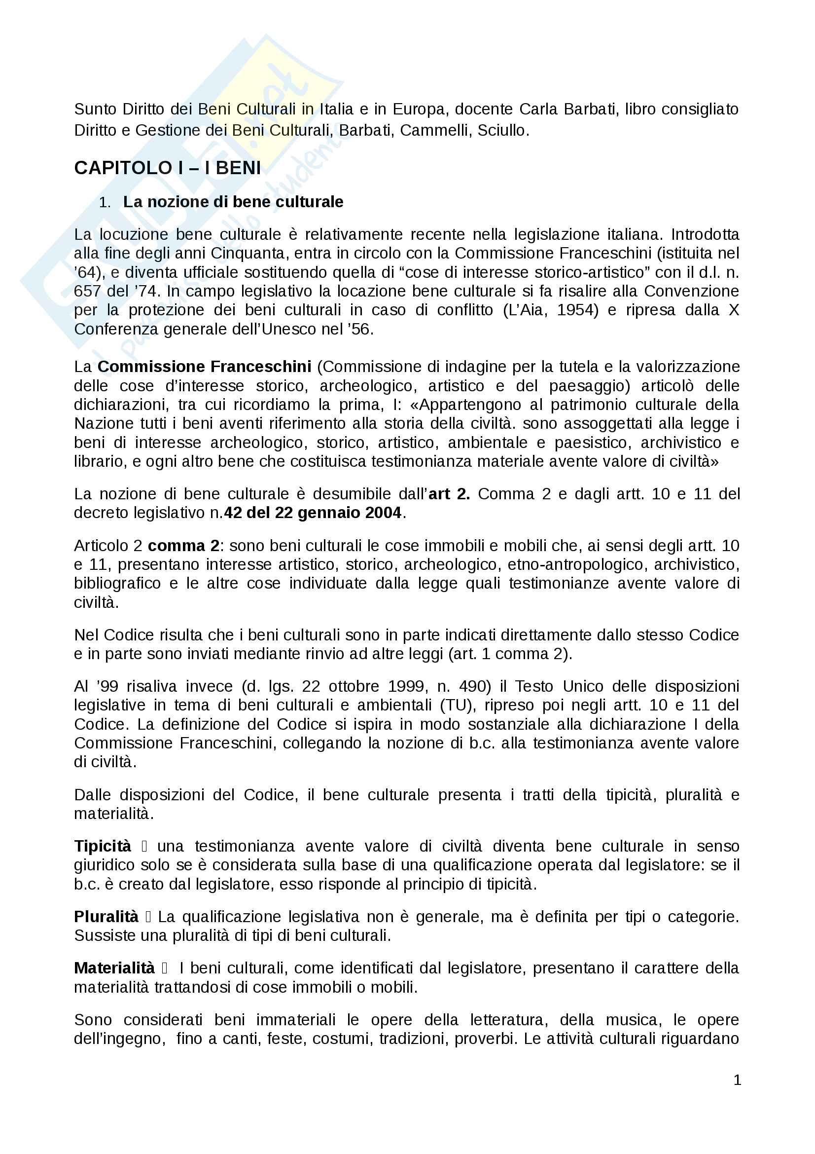 Riassunto esame Diritto dei Beni Culturali in Italia e in Europa docente Carla Barbati libro consigliato Diritto e Gestione dei Beni Culturali Barbati Cammelli Sciullo