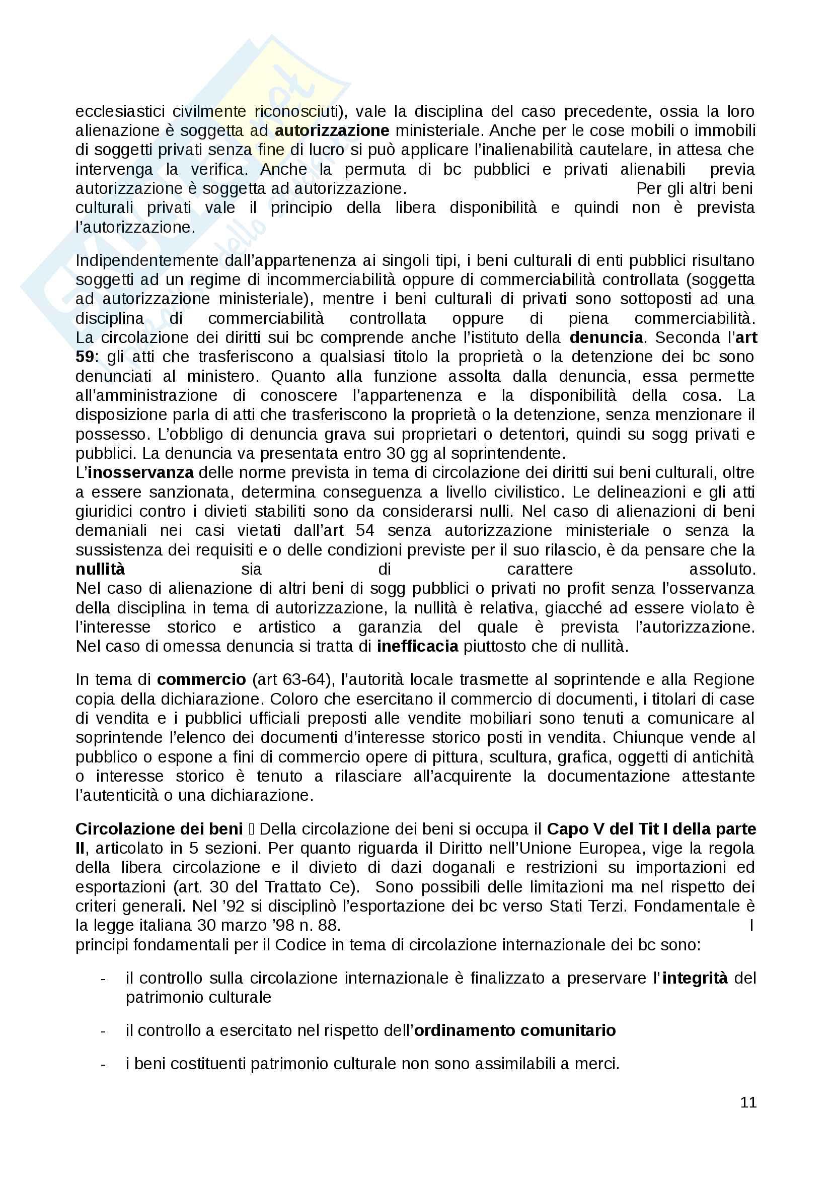 Riassunto esame Diritto dei Beni Culturali in Italia e in Europa docente Carla Barbati libro consigliato Diritto e Gestione dei Beni Culturali Barbati Cammelli Sciullo Pag. 11