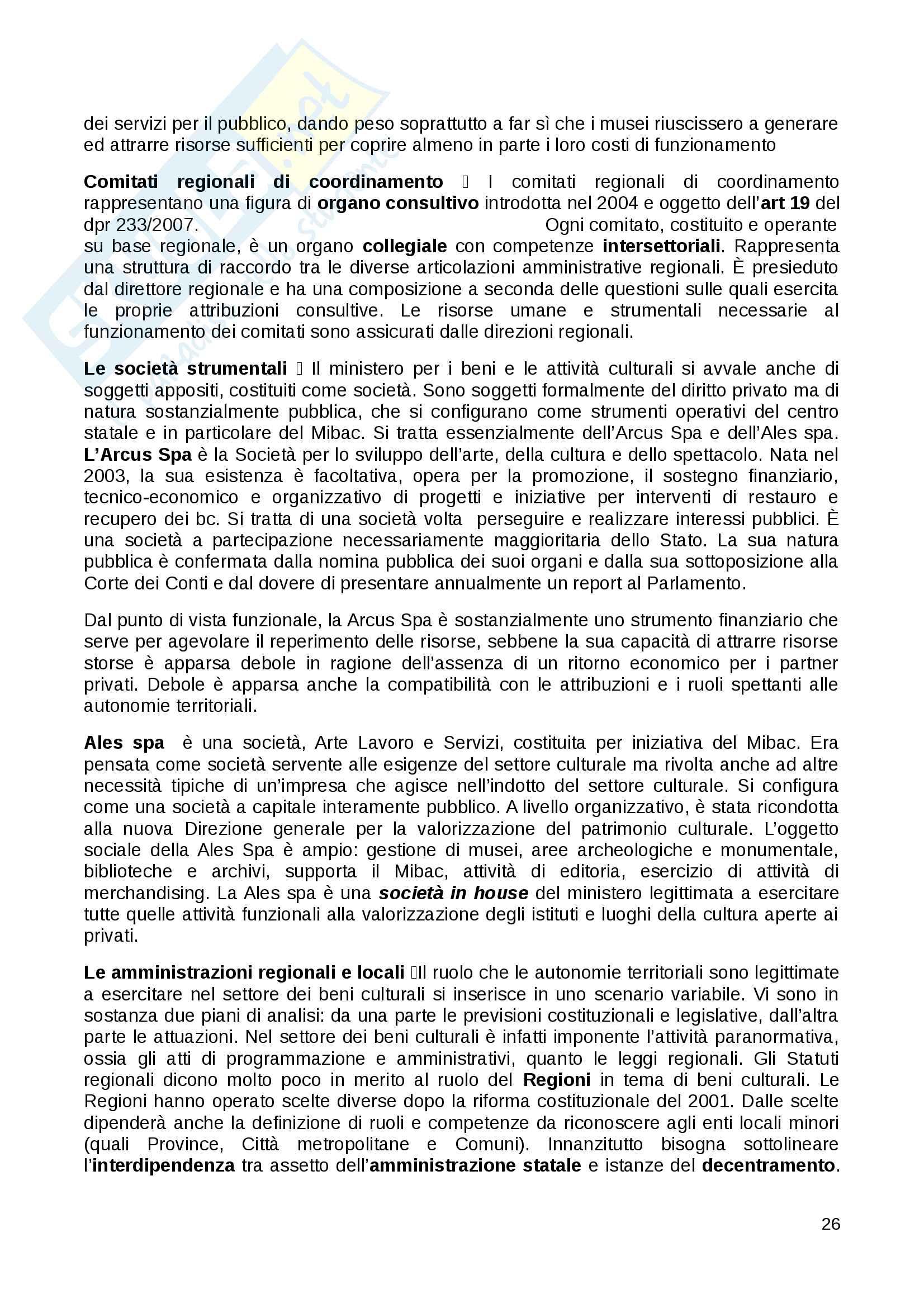Riassunto esame Diritto dei Beni Culturali in Italia e in Europa docente Carla Barbati libro consigliato Diritto e Gestione dei Beni Culturali Barbati Cammelli Sciullo Pag. 26
