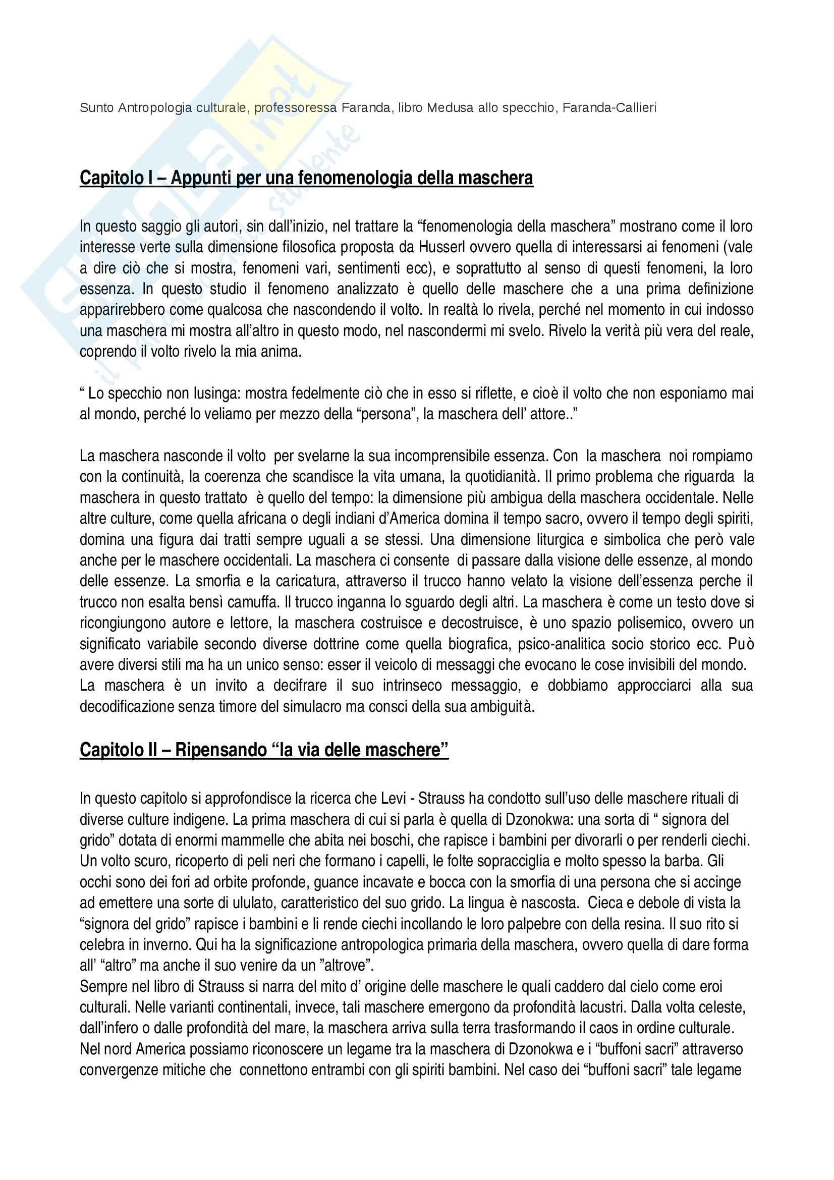 Riassunto esame antropologia culturale, prof. Faranda, libro consigliato Medusa allo specchio, Faranda, Callieri