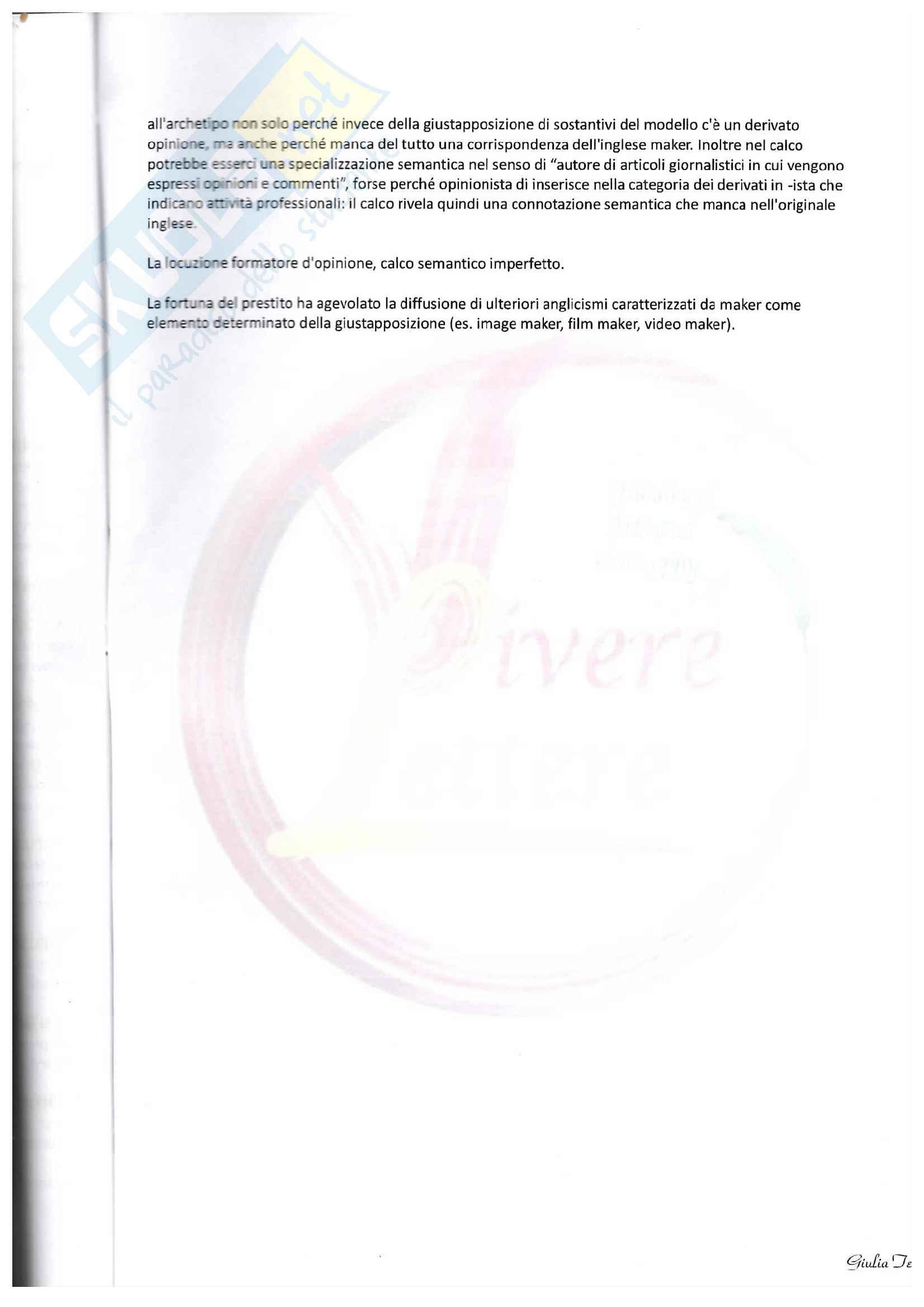 Appunti su calco e prestito, composti dotti e blend Pag. 11
