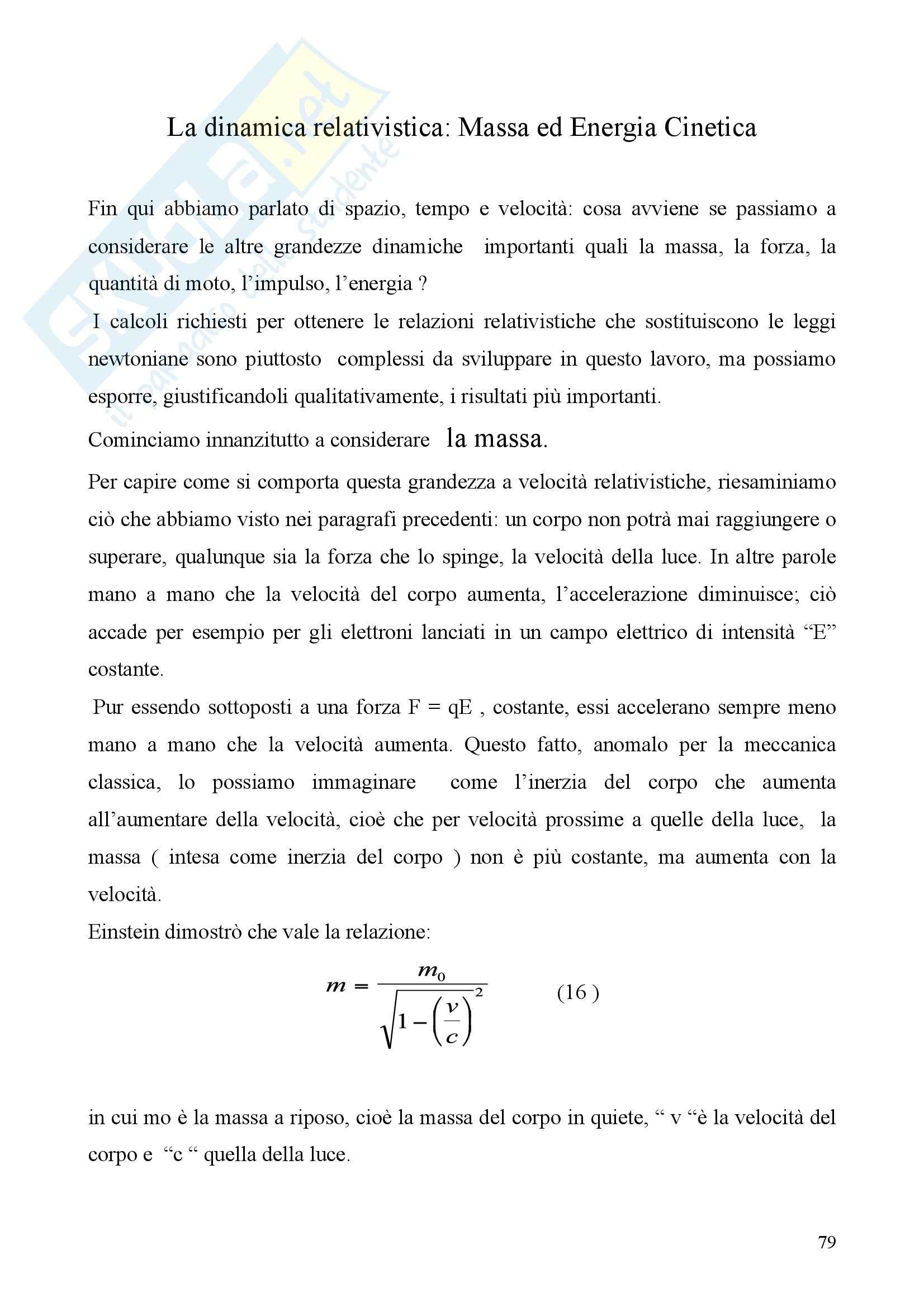 Dinamica relativistica - massa ed energia cinetica