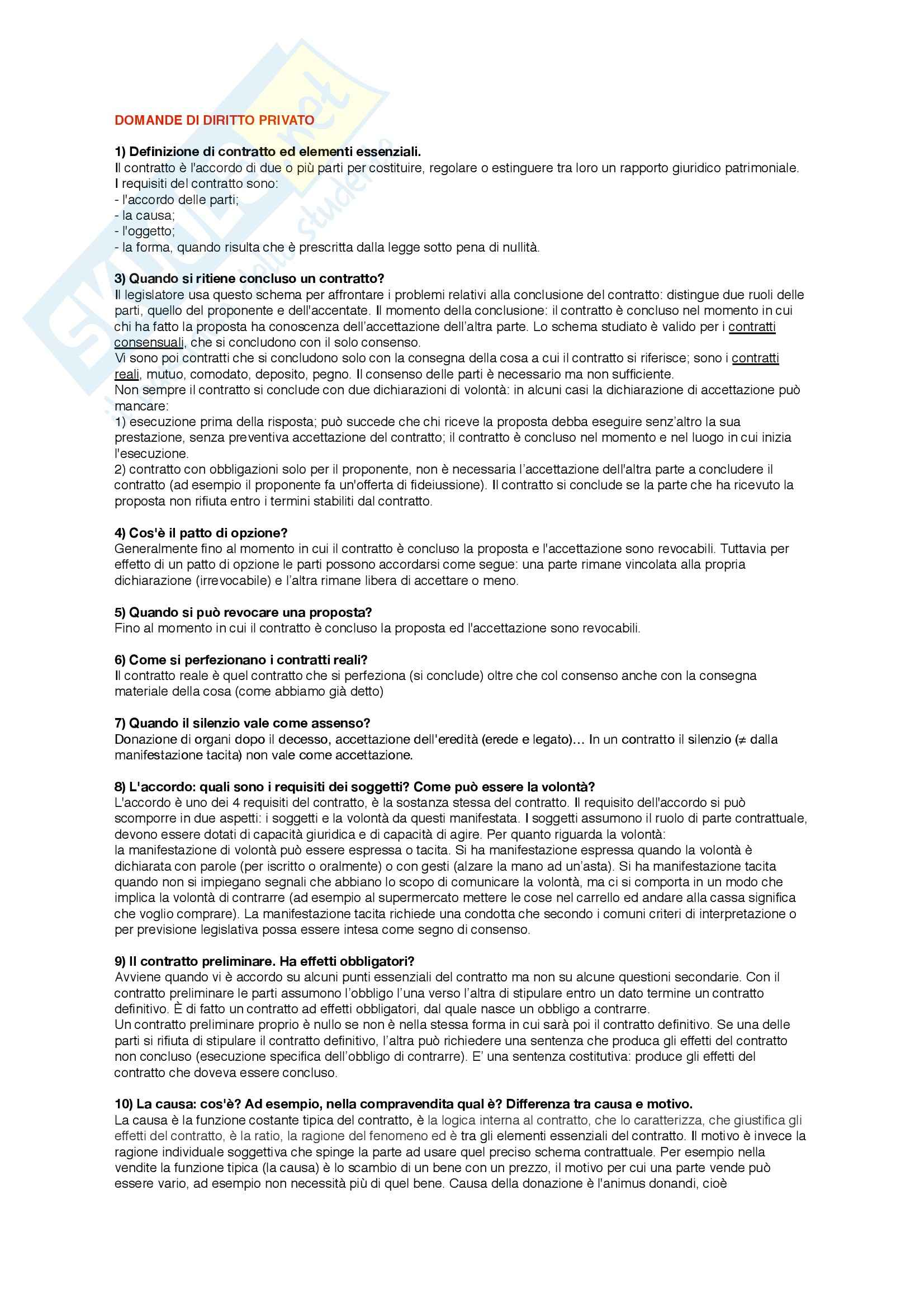 Diritto privato - Appunti