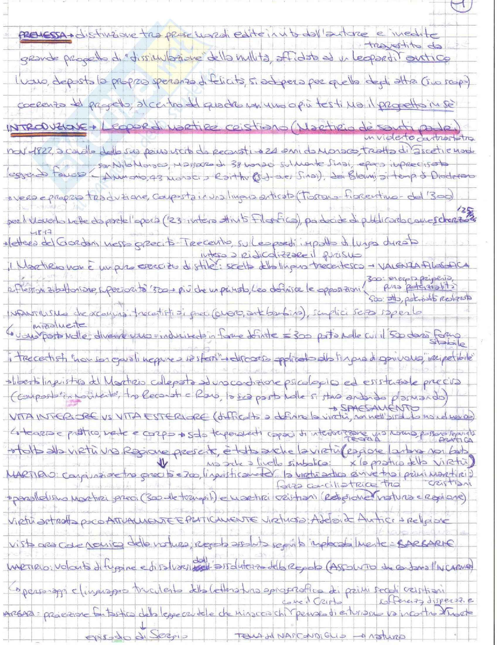 Riassunto esame Letteratura italiana, prof. D'Intino, libro consigliato Volgarizzamenti in prosa dal greco antico, Leopardi