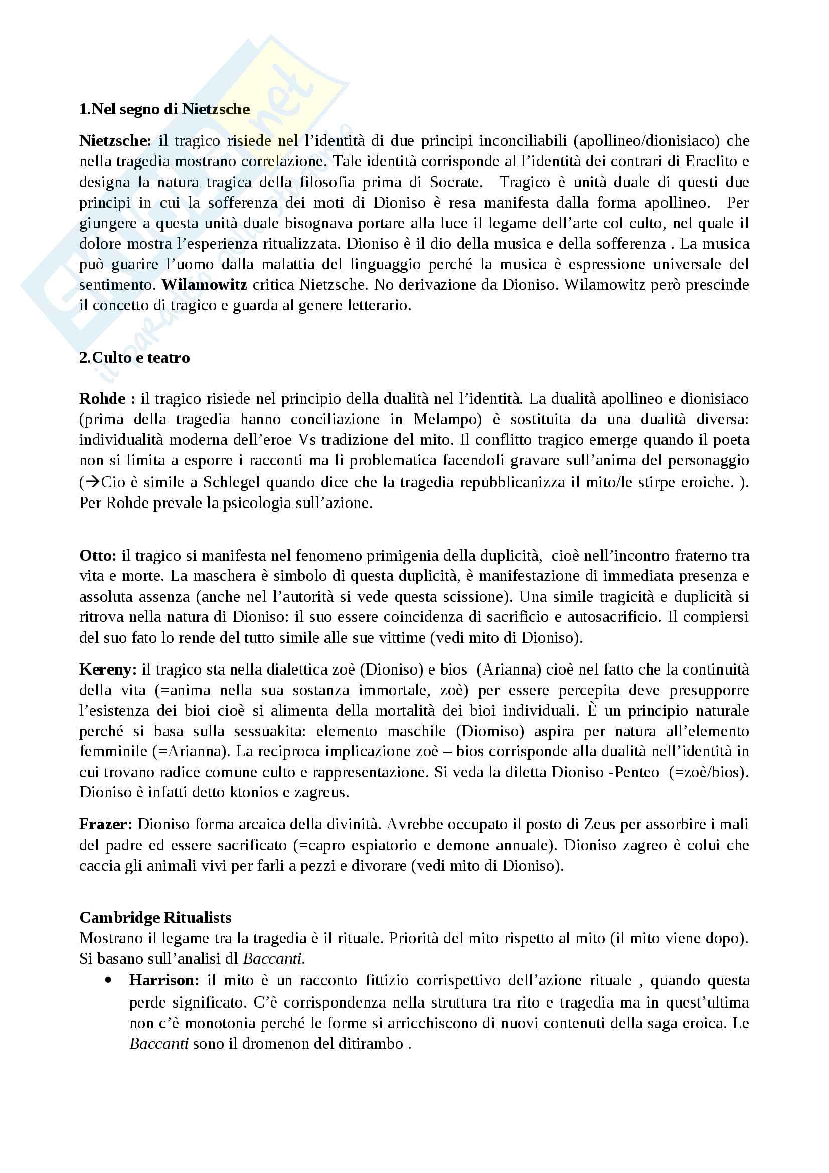 Riassunto esame Estetica, prof. Gentili, libro consigliato Il tragico, Gentili, Garelli