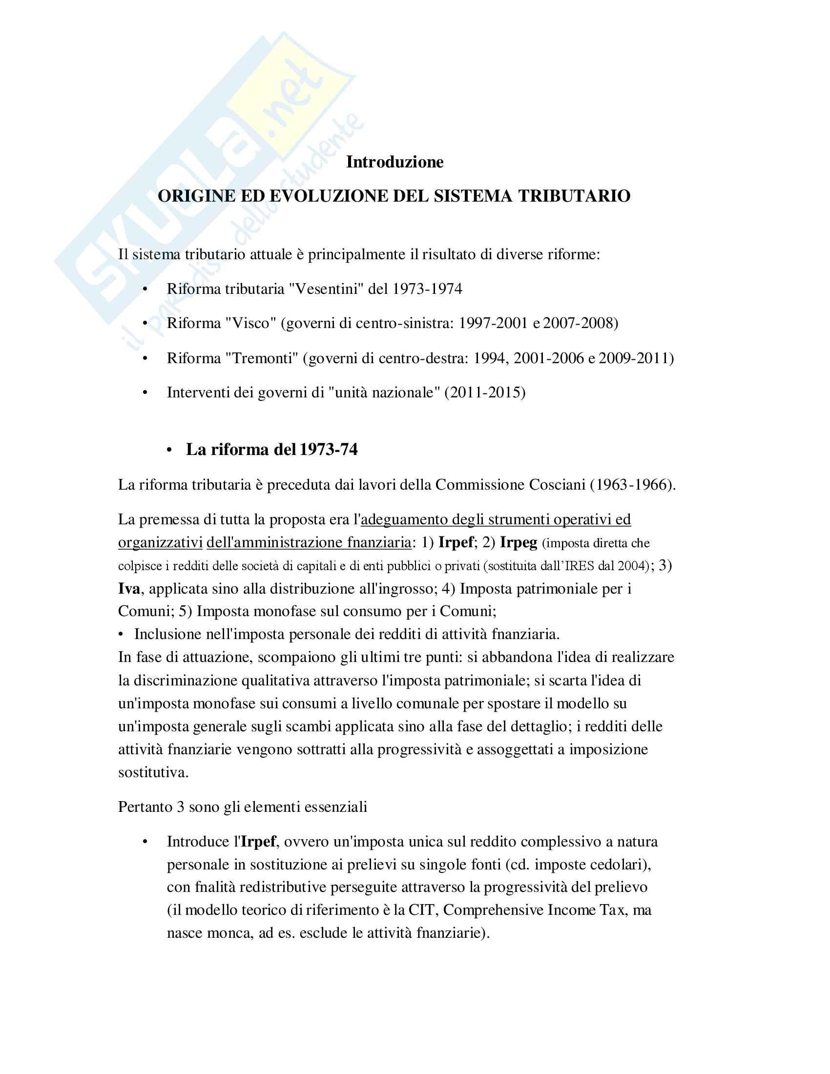 Riassunto Tributi economia italiana, esame di scienza delle finanze, prof Baldini, libro consigliato P. Bosi, M. C. Guerra: I tributi nell'economia italiana