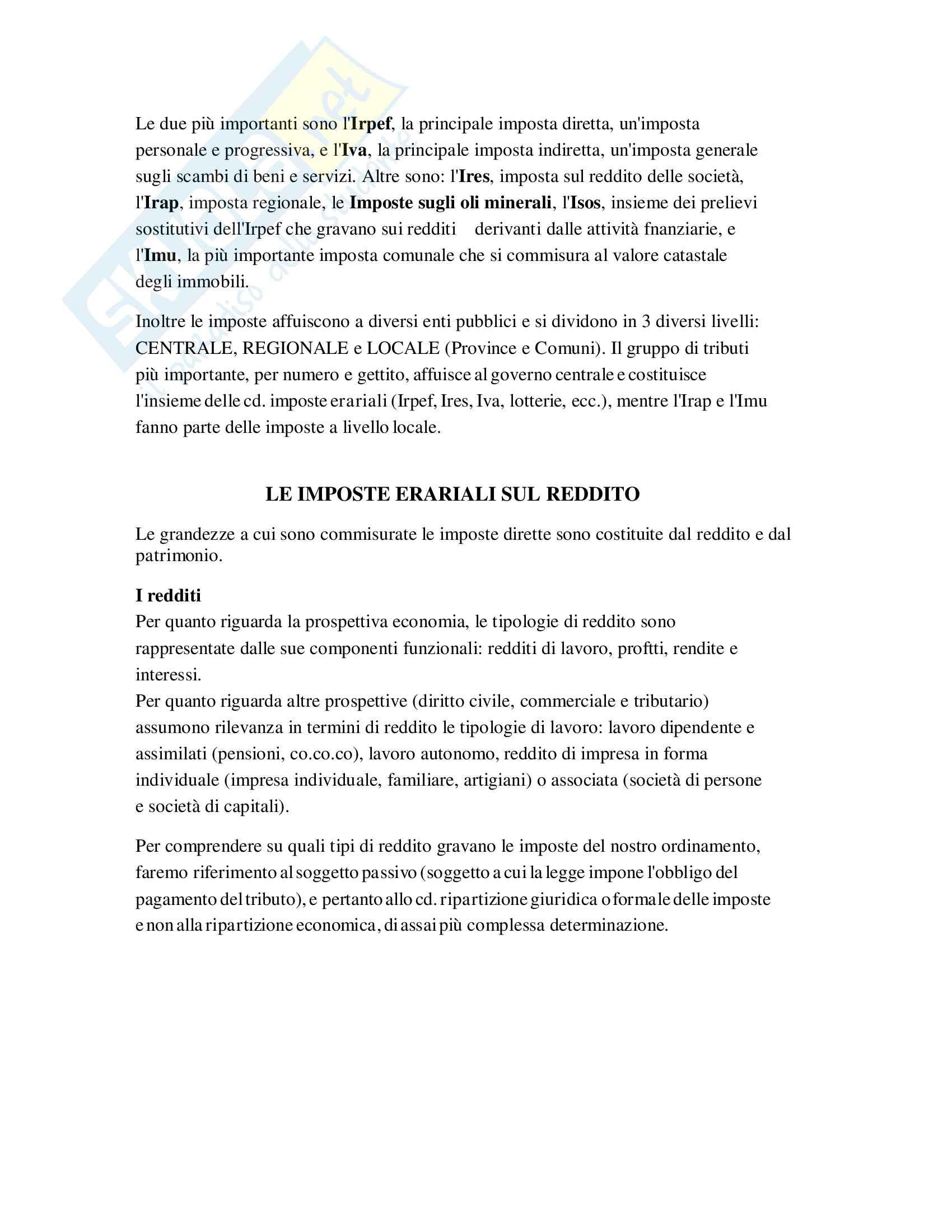 Riassunto Tributi economia italiana, esame di scienza delle finanze, prof Baldini, libro consigliato P. Bosi, M. C. Guerra: I tributi nell'economia italiana Pag. 6