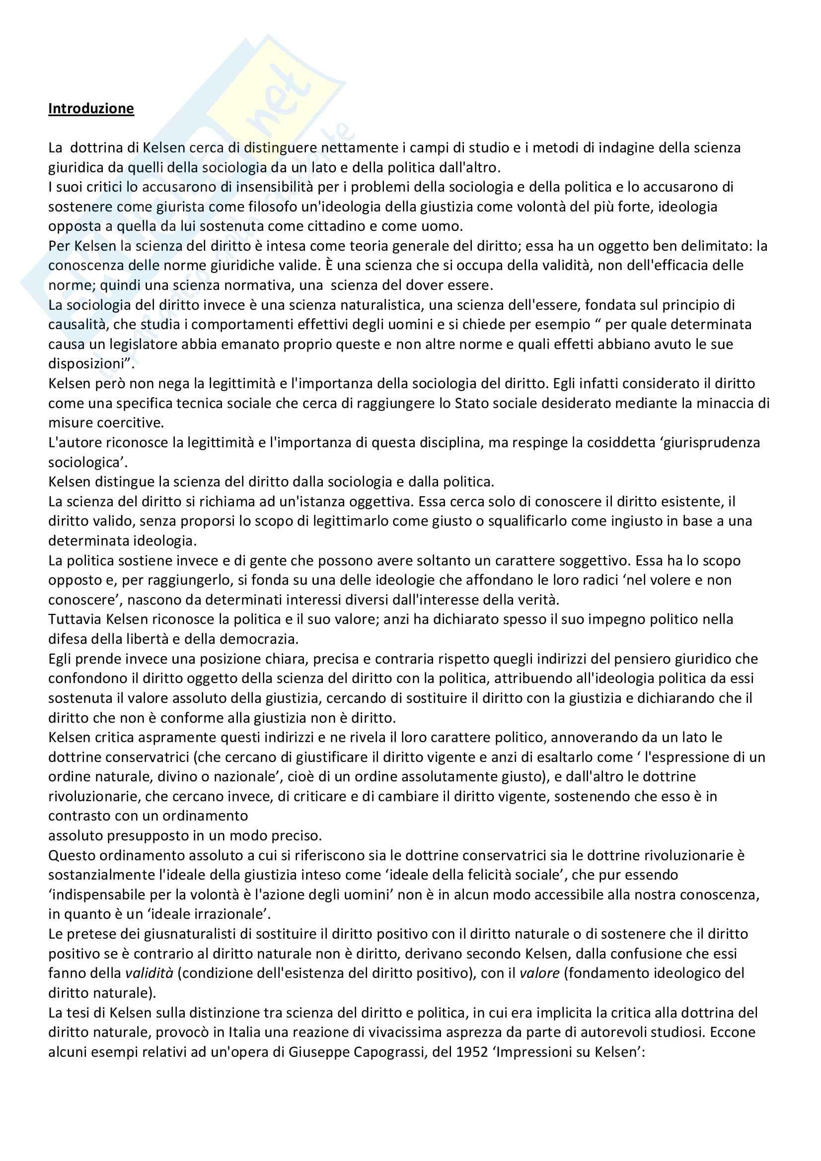 Lineamenti di dottrina pura del diritto, Kelsen - Appunti