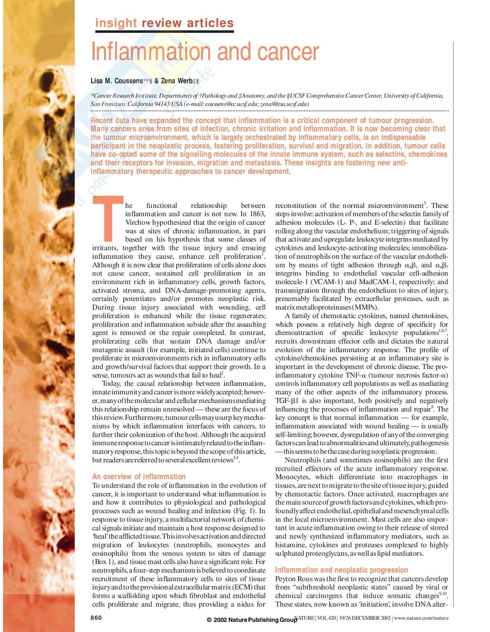 Patologia e fisiopatologia generale - infiammazione e tumori seconda parte