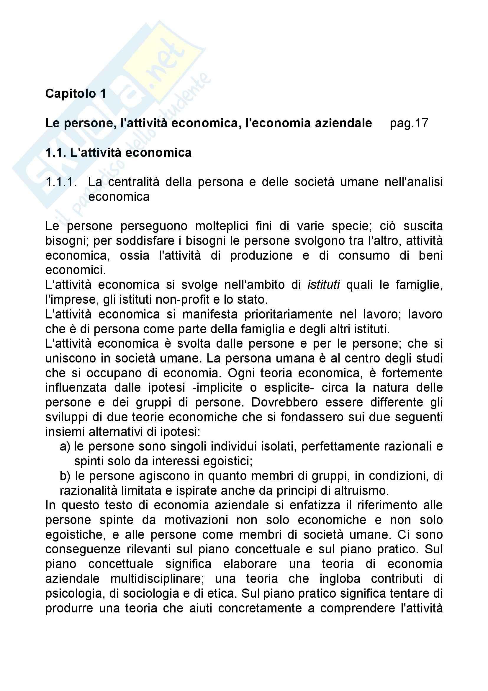 Riassunto esame Economia Aziendale, prof. Bagnoli, libro consigliato Corso di Economia Aziendale, Airoldi