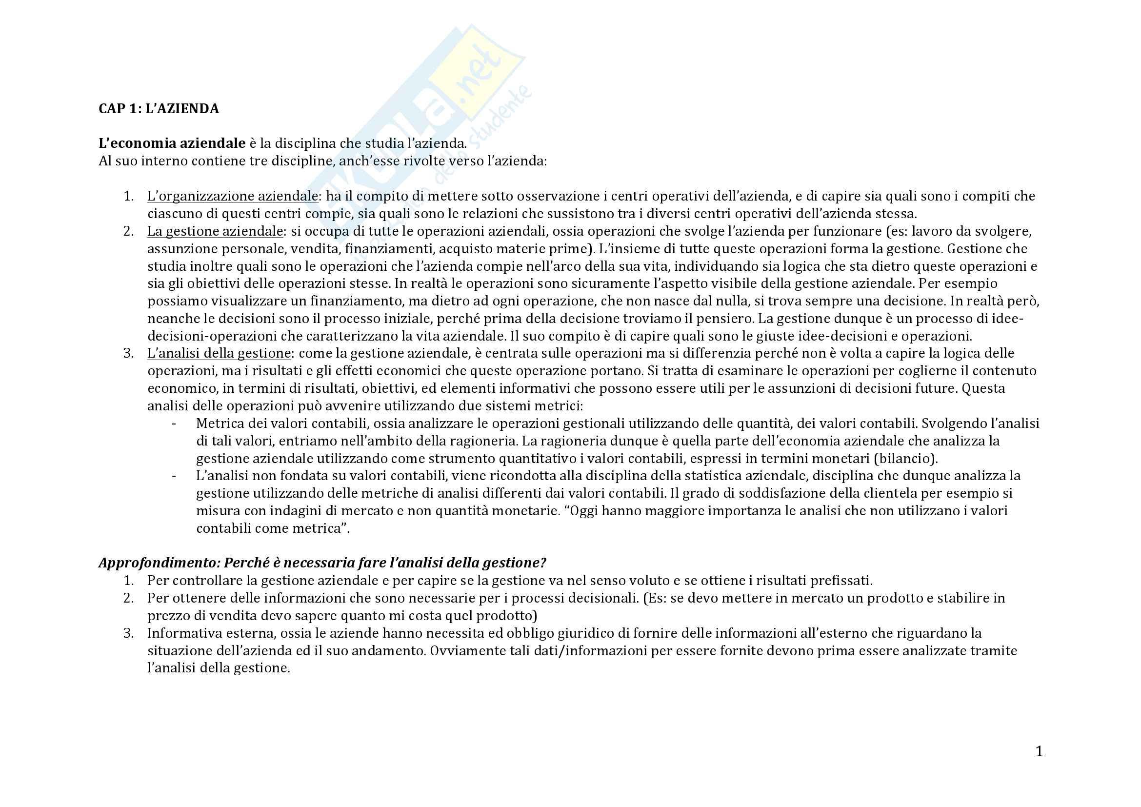 Riassunto esame Economia Aziendale - Michele Galeotti