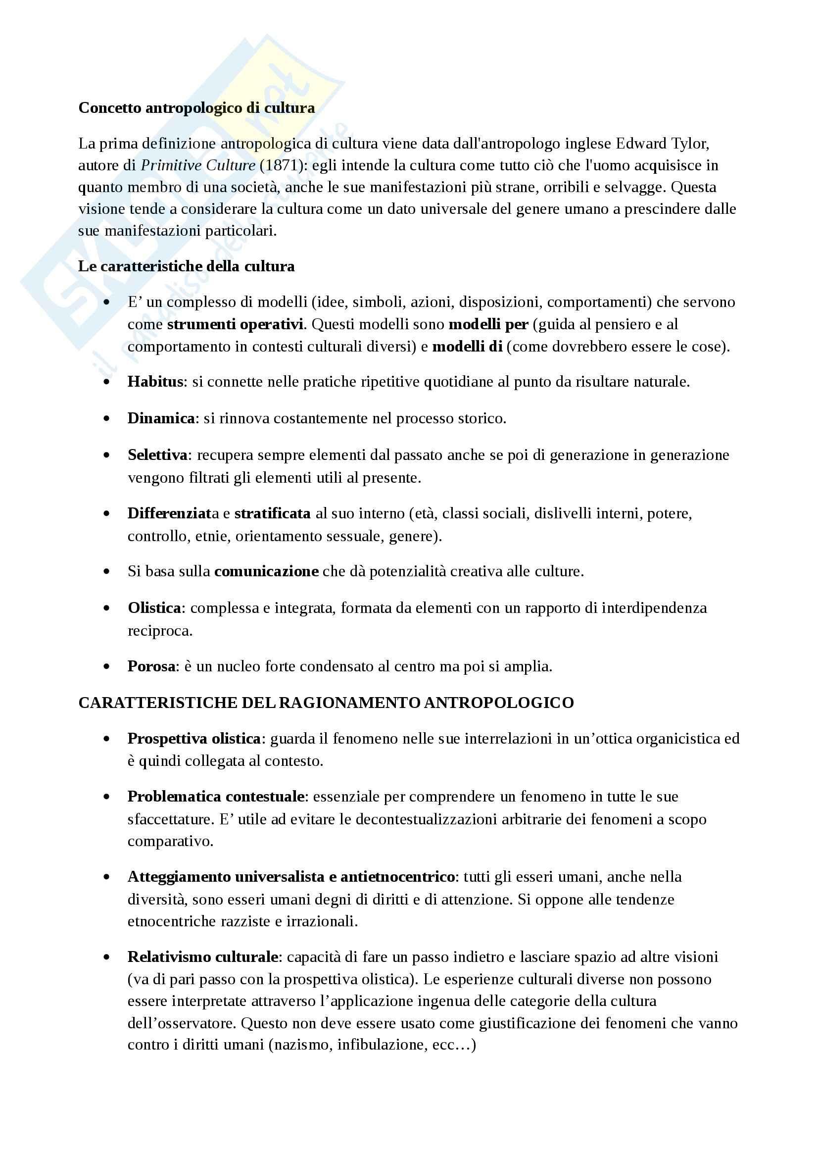 Riassunto esame Antropologia Culturale, prof. Altin, libro consigliato Elementi di antropologia culturale, Fabietti Pag. 2