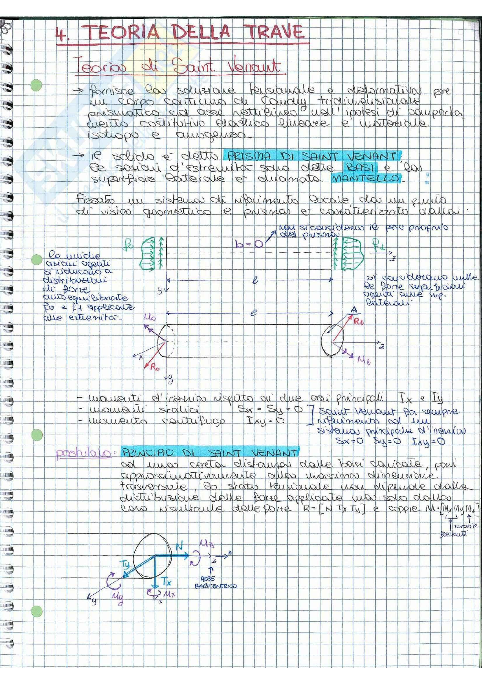 Riassunto esame Scienza delle costruzioni, prof. Vestroni, libro consigliato Casini, Vasta: parte teoria della trave