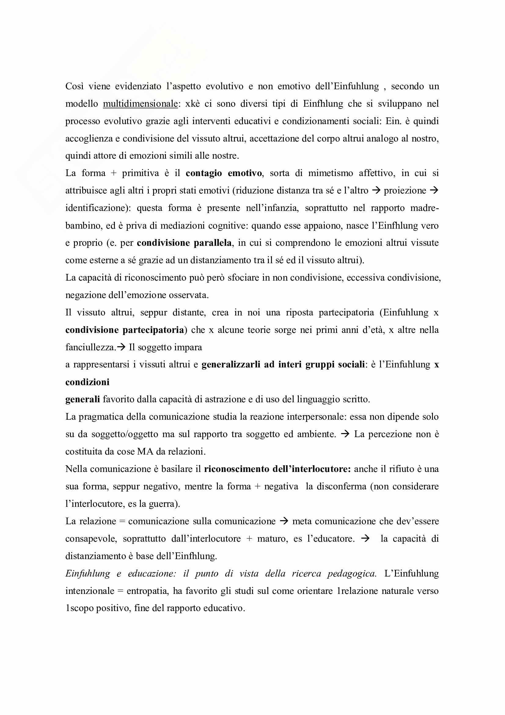 Riassunto esame Pedagogia Generale, prof. Michielin, libro consigliato Lessico di Pedagogia Fenomenologica, Bertolini Pag. 11