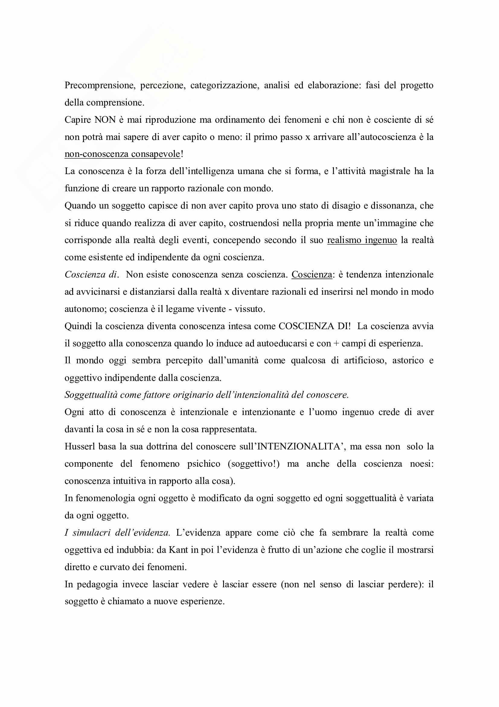 Riassunto esame Pedagogia Generale, prof. Michielin, libro consigliato Lessico di Pedagogia Fenomenologica, Bertolini Pag. 2
