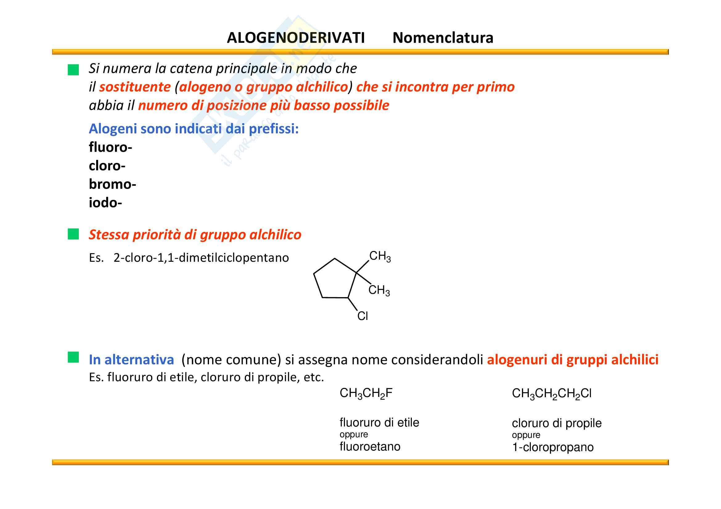 Chimica Organica:  Alogenoalcani e reazioni di sostituzione/eliminazione