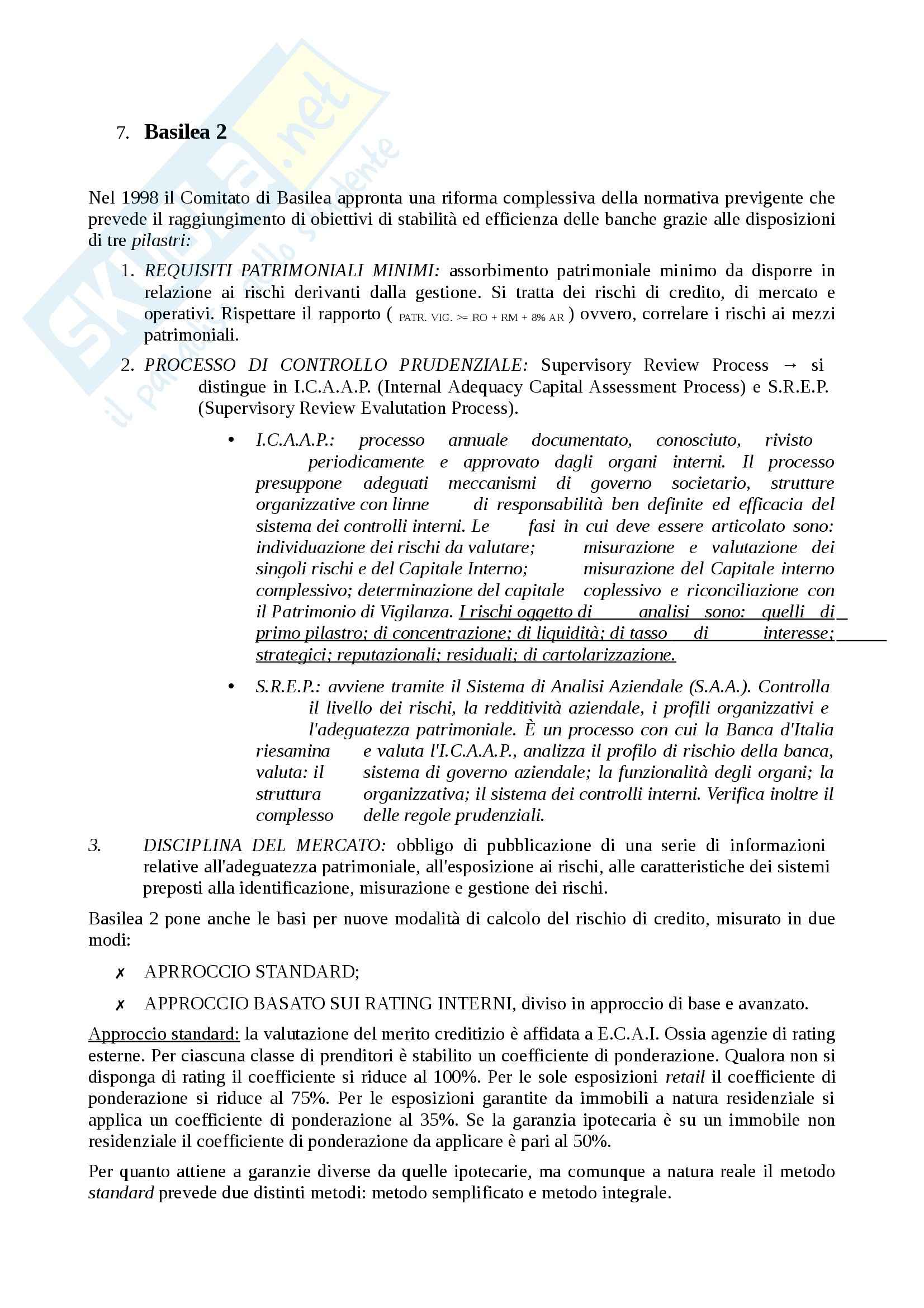 Economia degli intermediari finanziari - regolamentazione del sistema finanziario Pag. 6