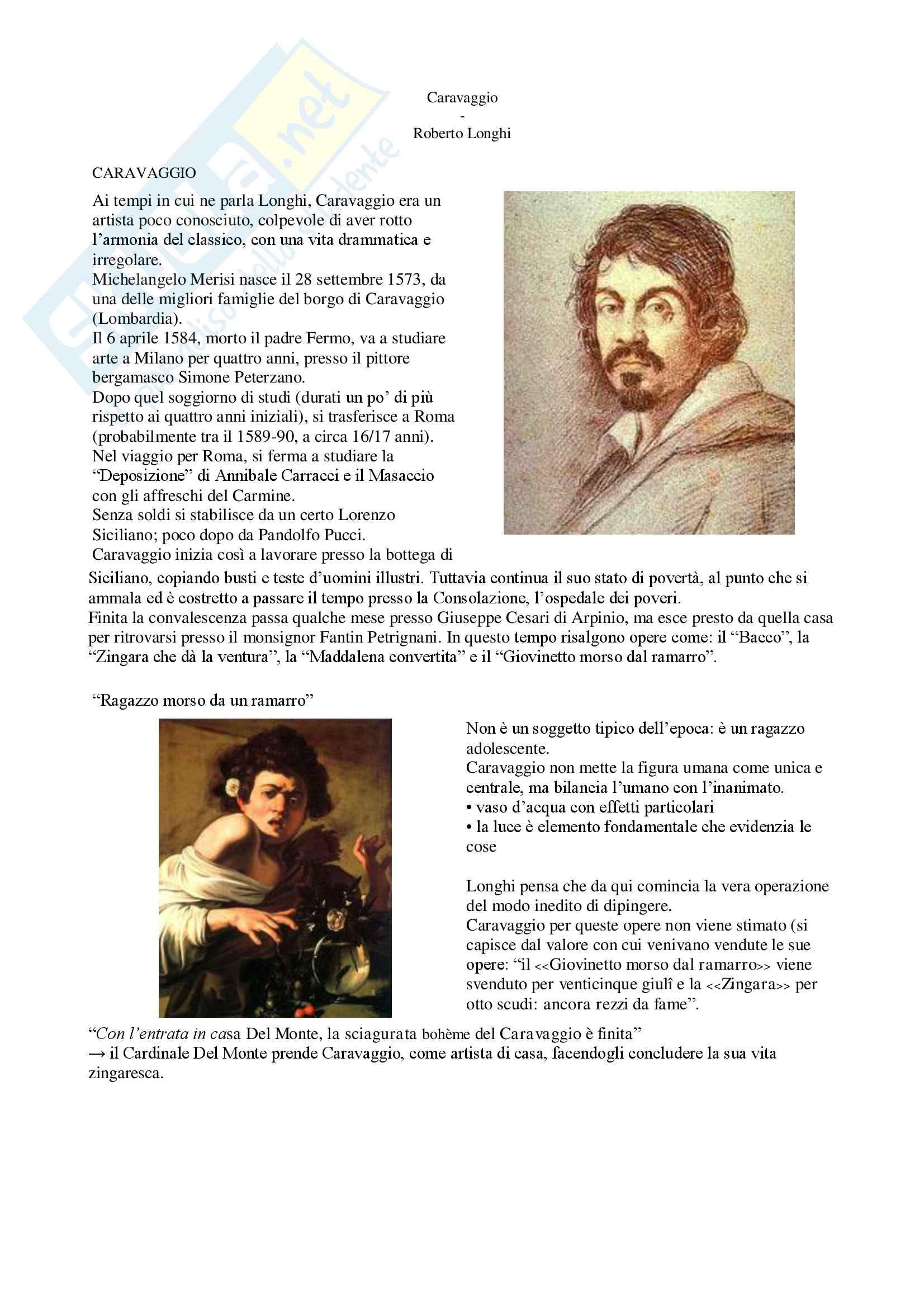 """Riassunto esame letteratura italiana contemporanea, prof. Bazzocchi, libro consigliato """"Caravaggio"""" - Roberto Longhi"""