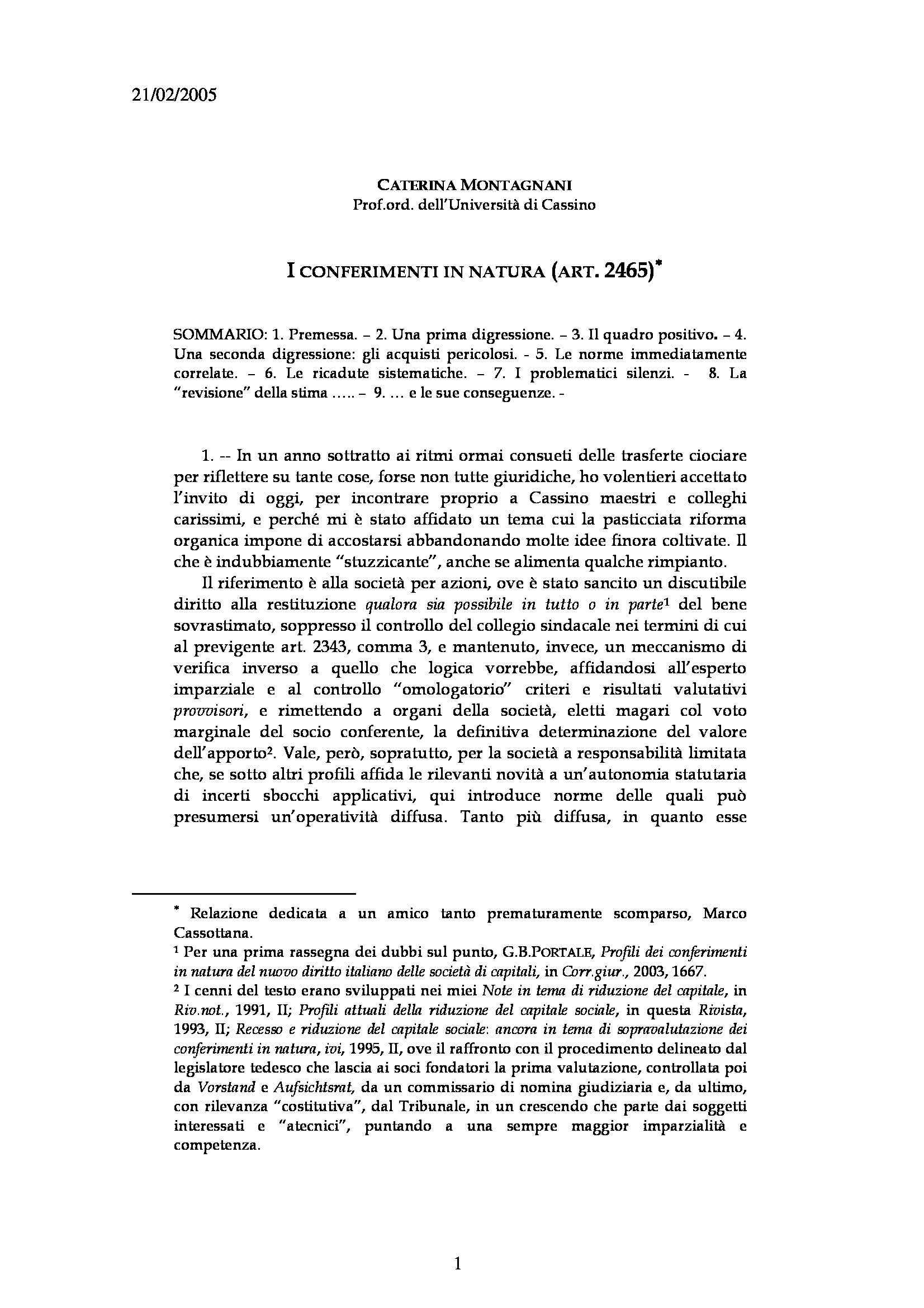 Conferimenti in natura S.r.l. - Art. 2465 c.c.