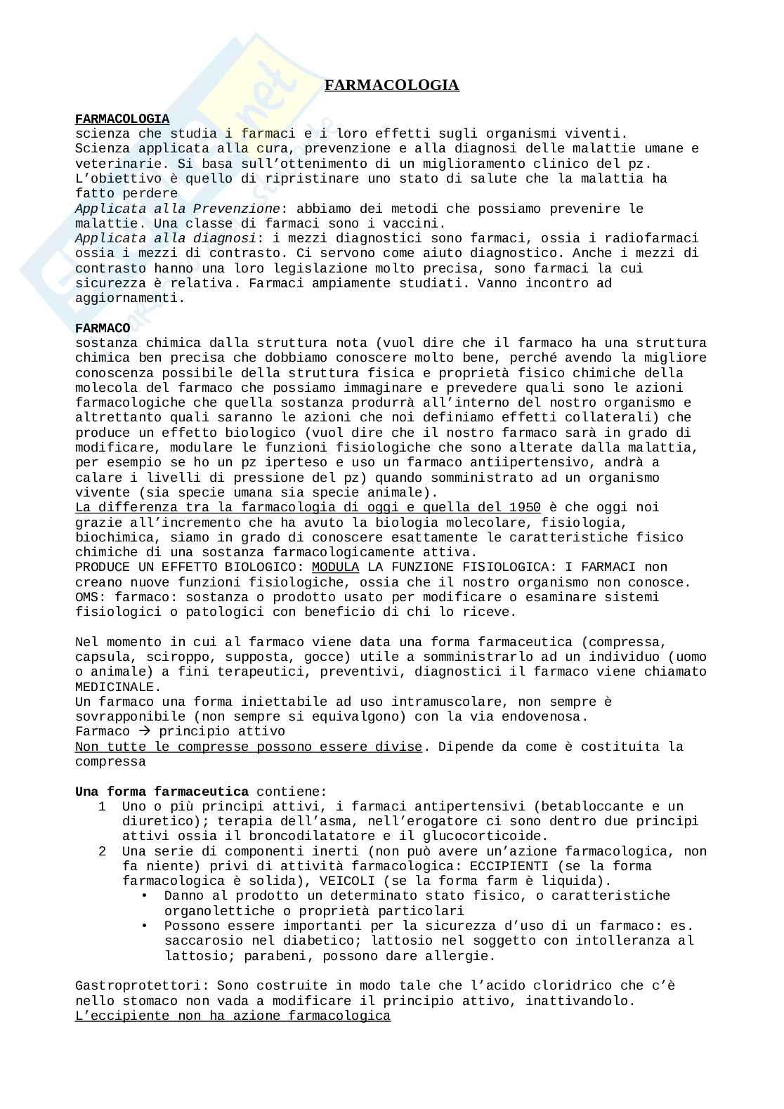 Appunti Farmacologia Pag. 1