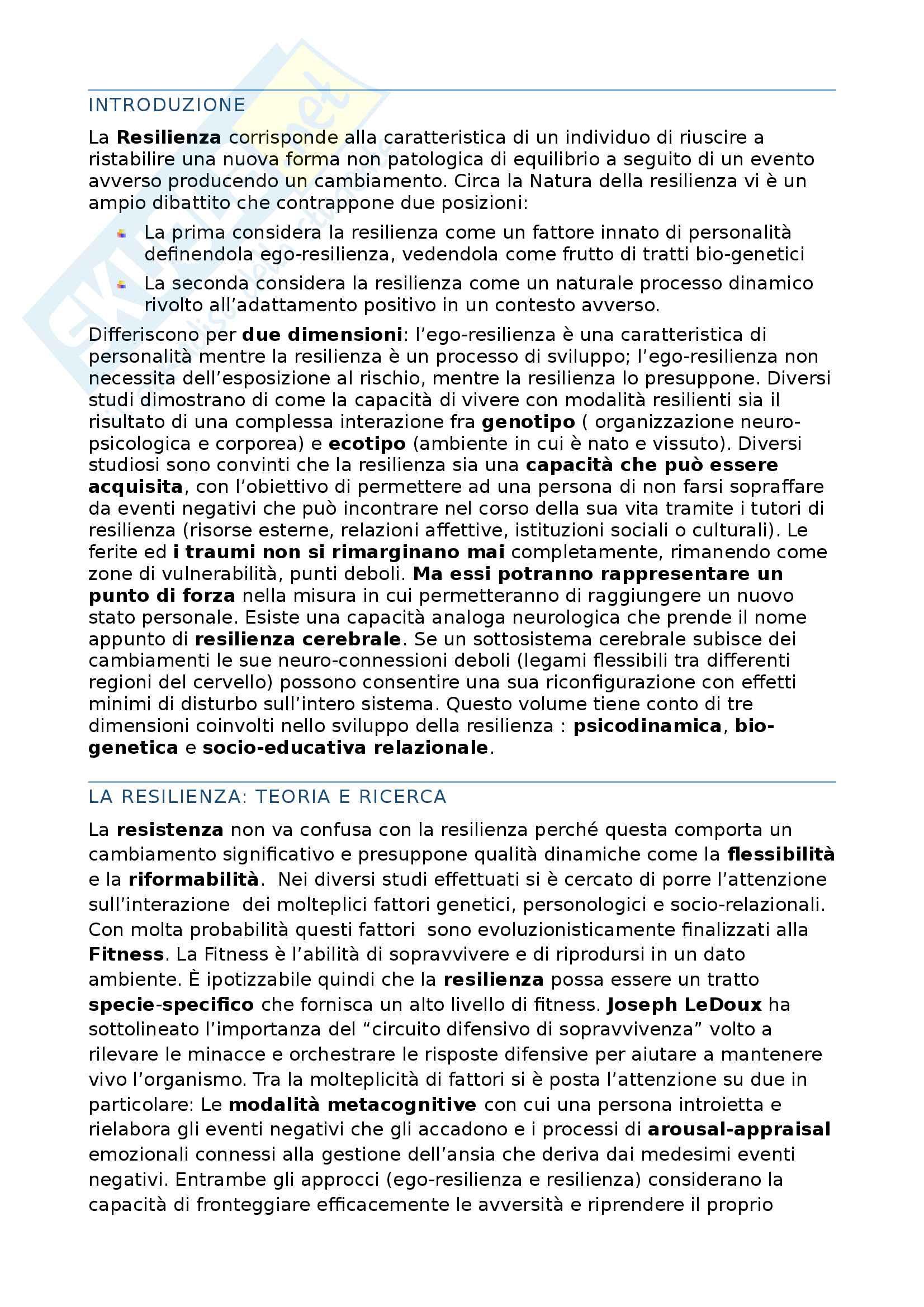 Riassunto esame Psicologia della personalità, C. Varriale, Libro consigliato Resilienze: Sviluppare personalità resilienti lavorando sui processi metacognitivi, C. Varriale