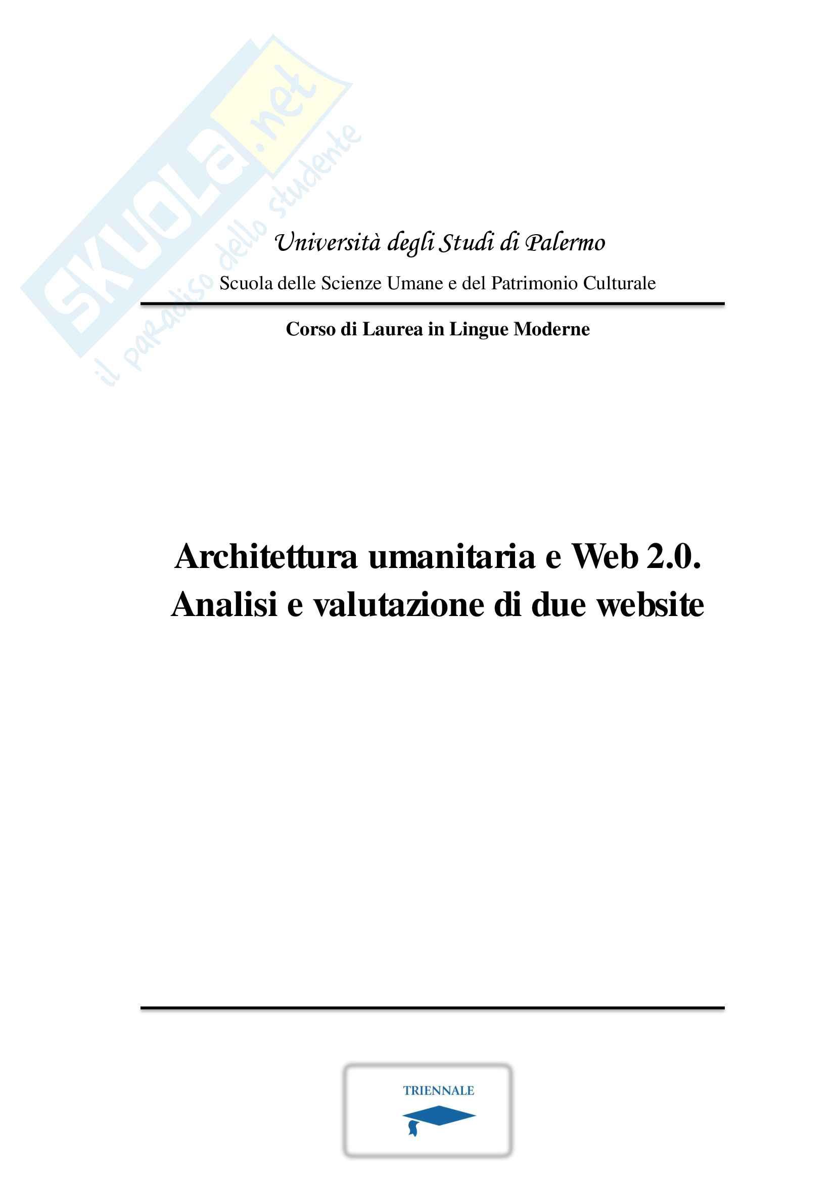 Architettura Umanitaria e Web 2.0: analisi di due siti web (web usability e linguistica computazionale)