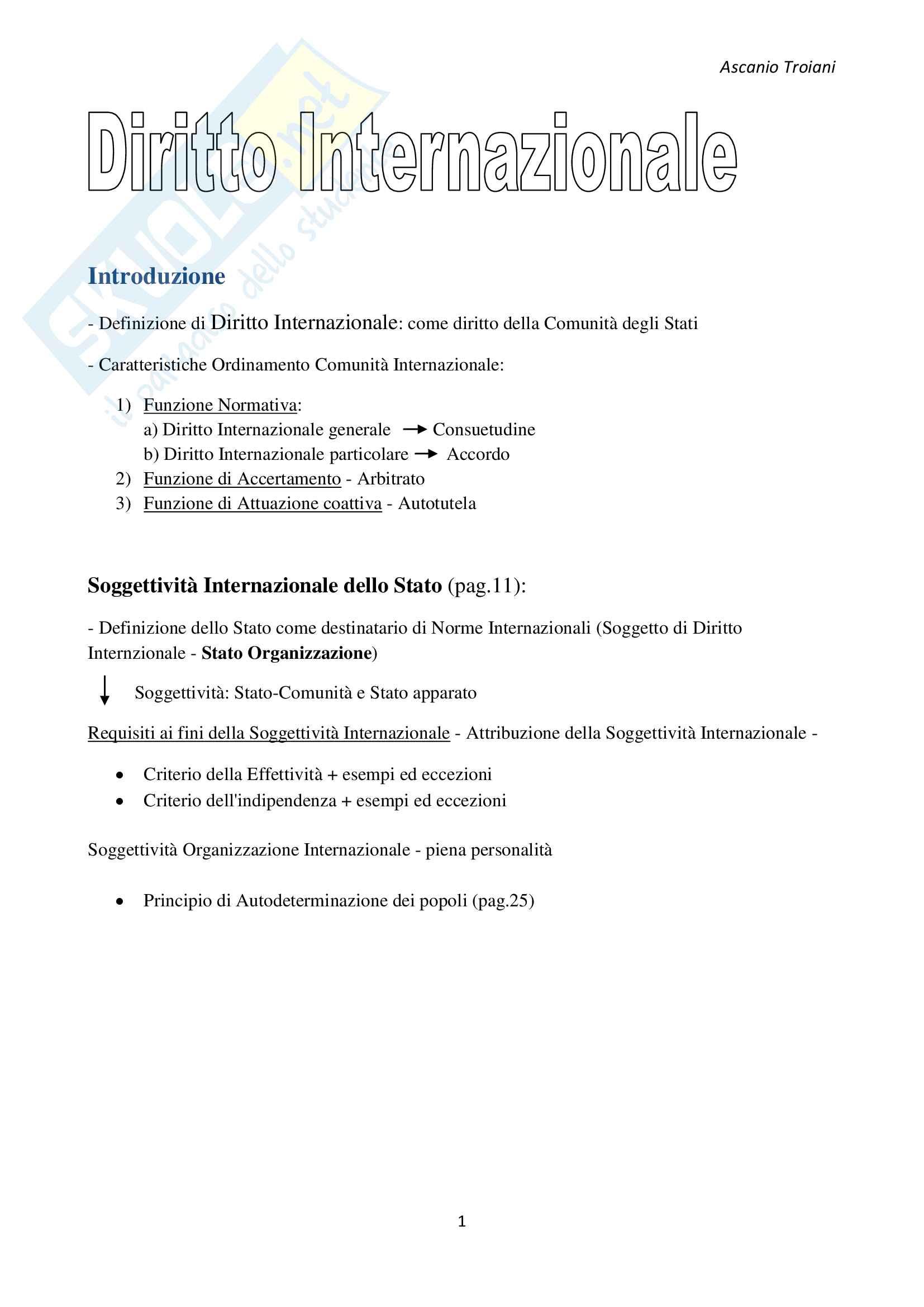 Schema + Domande Esame Diritto Internazionale, Palmisano - Carletti