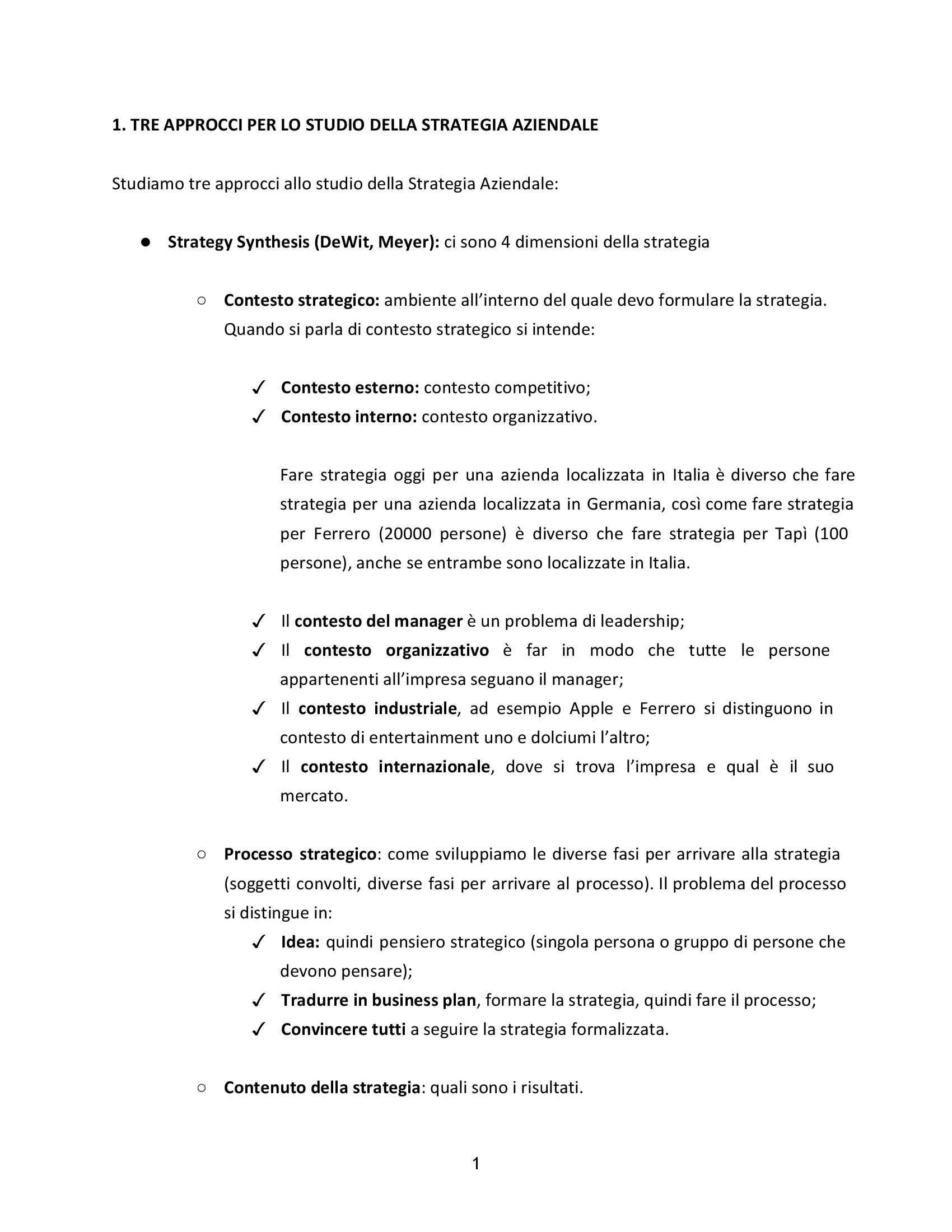 Strategia aziendale - Appunti
