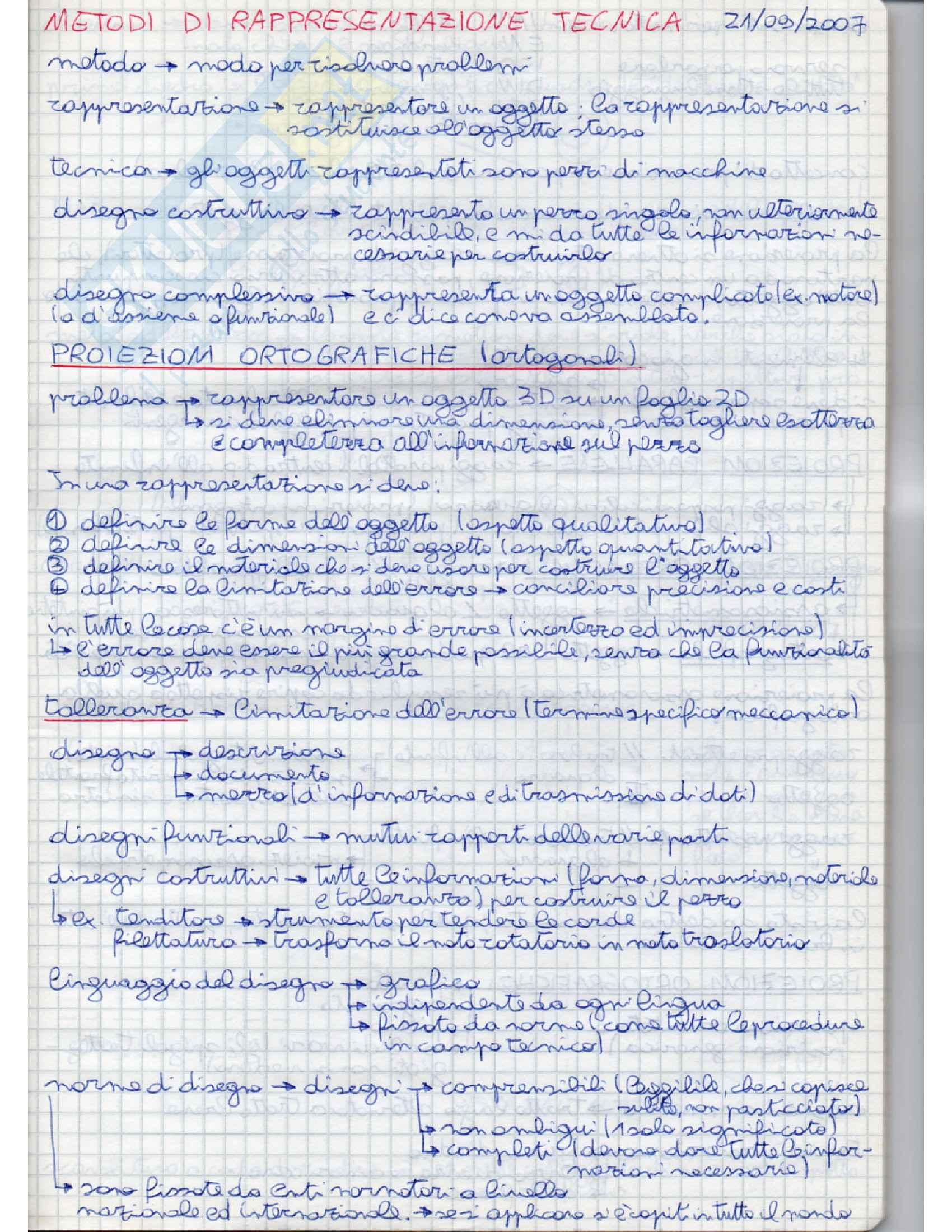 appunto P. Chiabert Metodi di Rappresentazione Tecnica