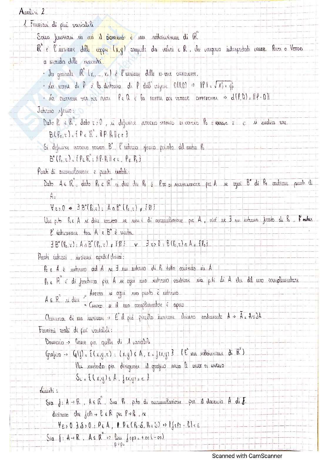 Appunti completi Analisi 2
