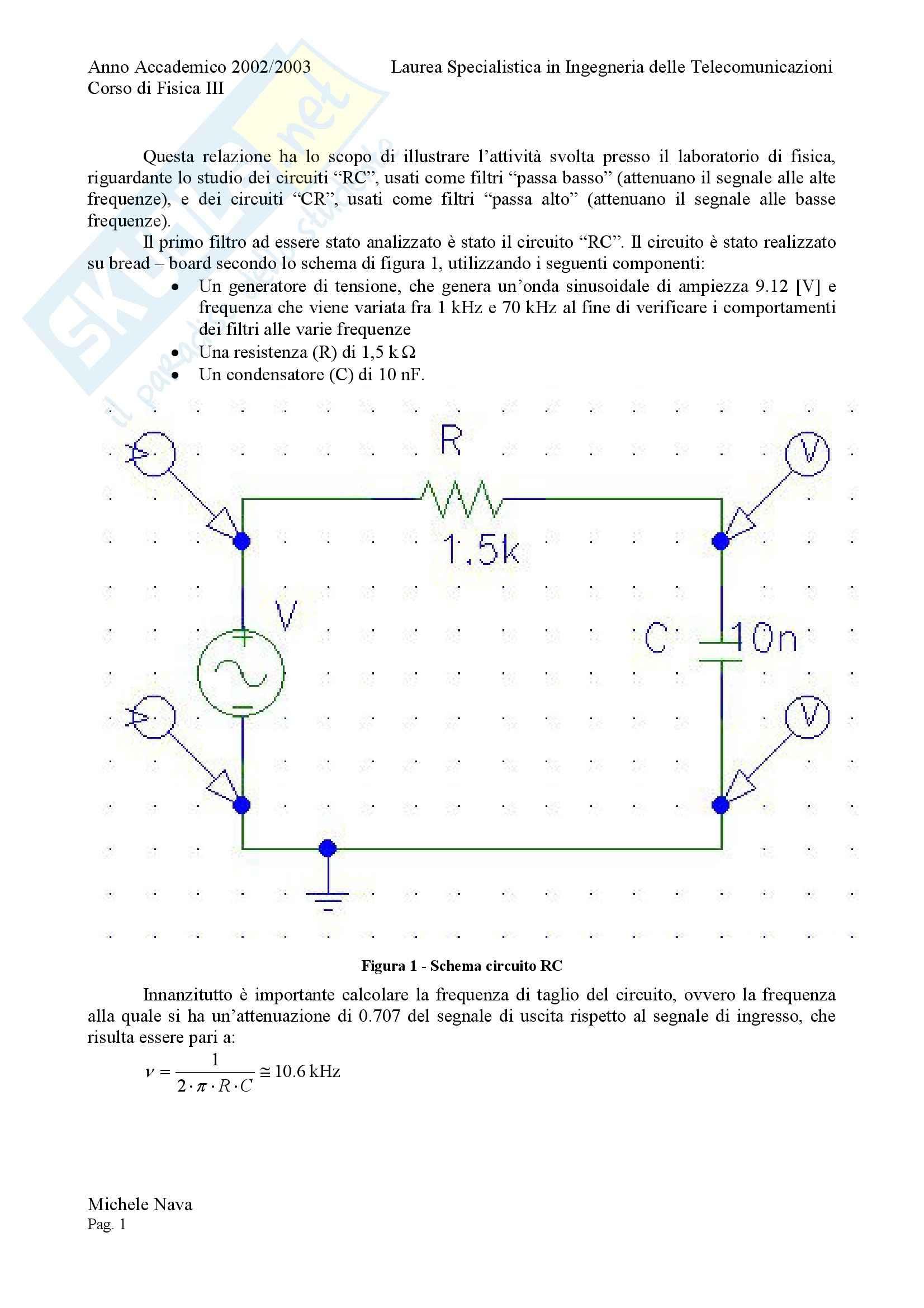 Fisica 3 - Elettrotecnica, filtri RC e CR Pag. 2