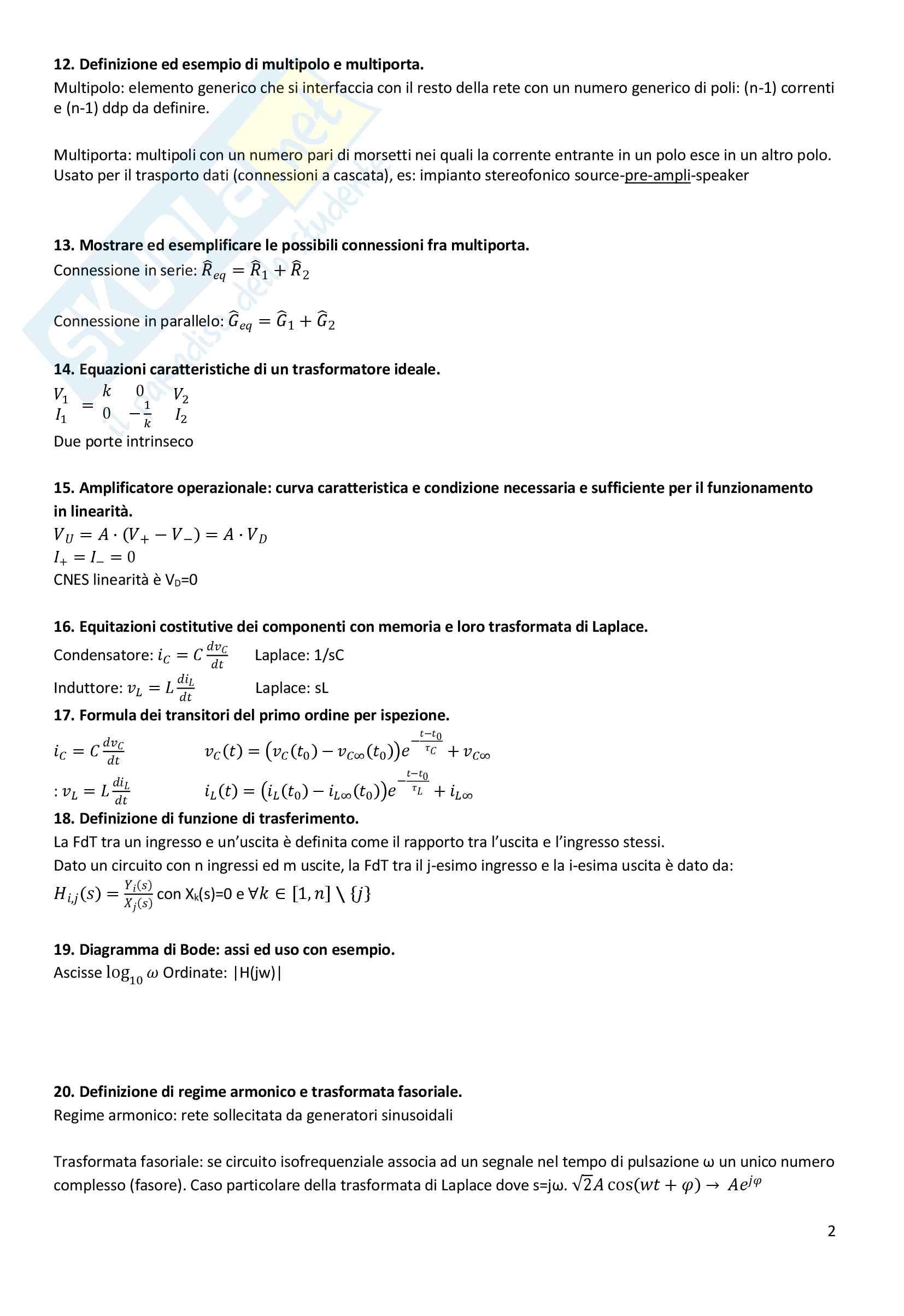 Domande in preparazione all'orale di elettrotecnica Pag. 2