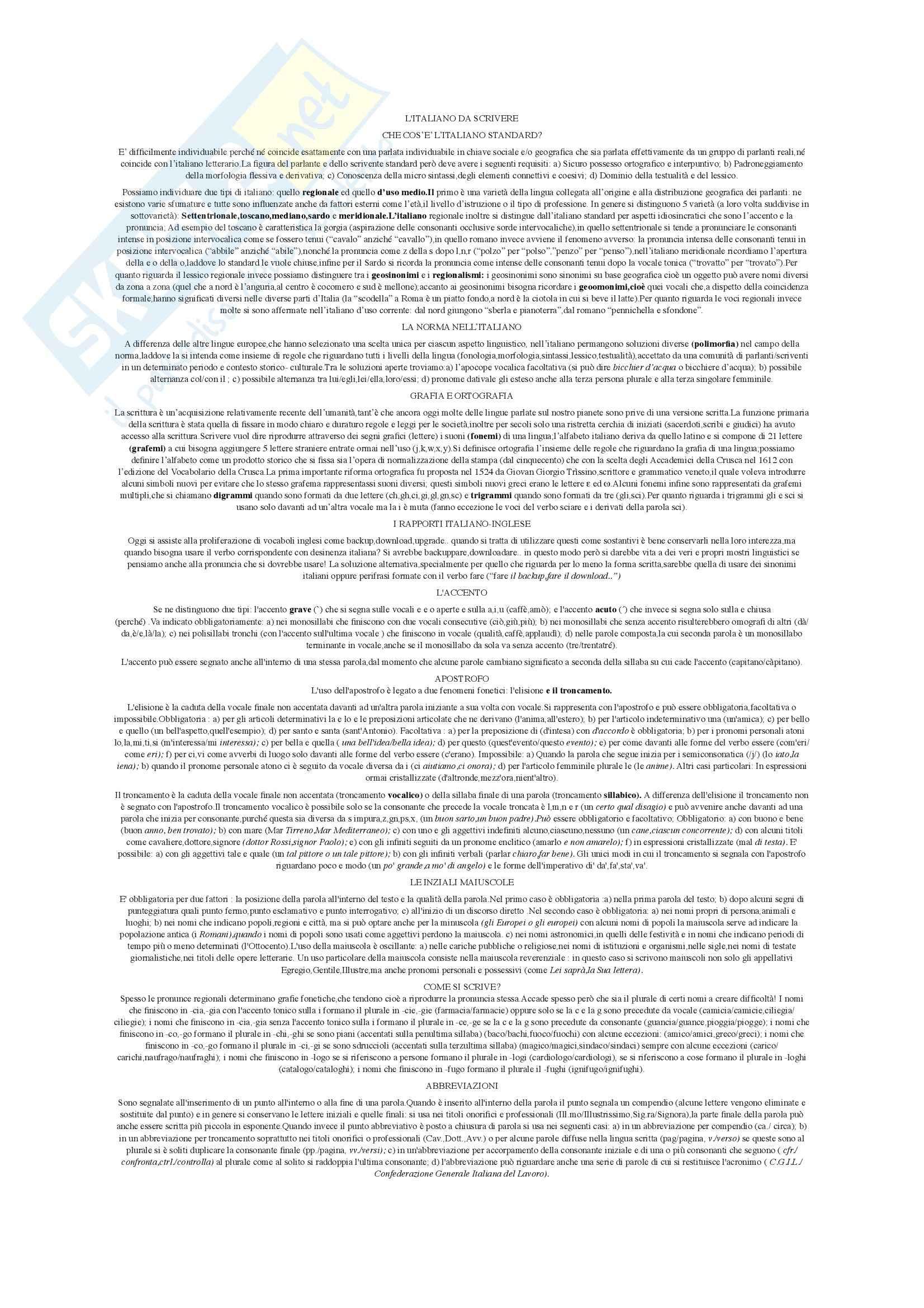 Riassunto esame Istituzioni di Linguistica italiana, prof. Giovanardi, libro consigliato L'italiano da scrivere, Giovanardi