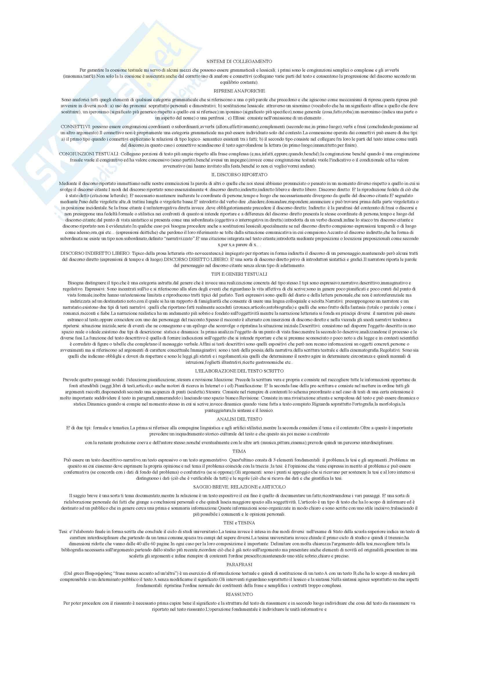 Riassunto esame Istituzioni di Linguistica italiana, prof. Giovanardi, libro consigliato L'italiano da scrivere, Giovanardi Pag. 6