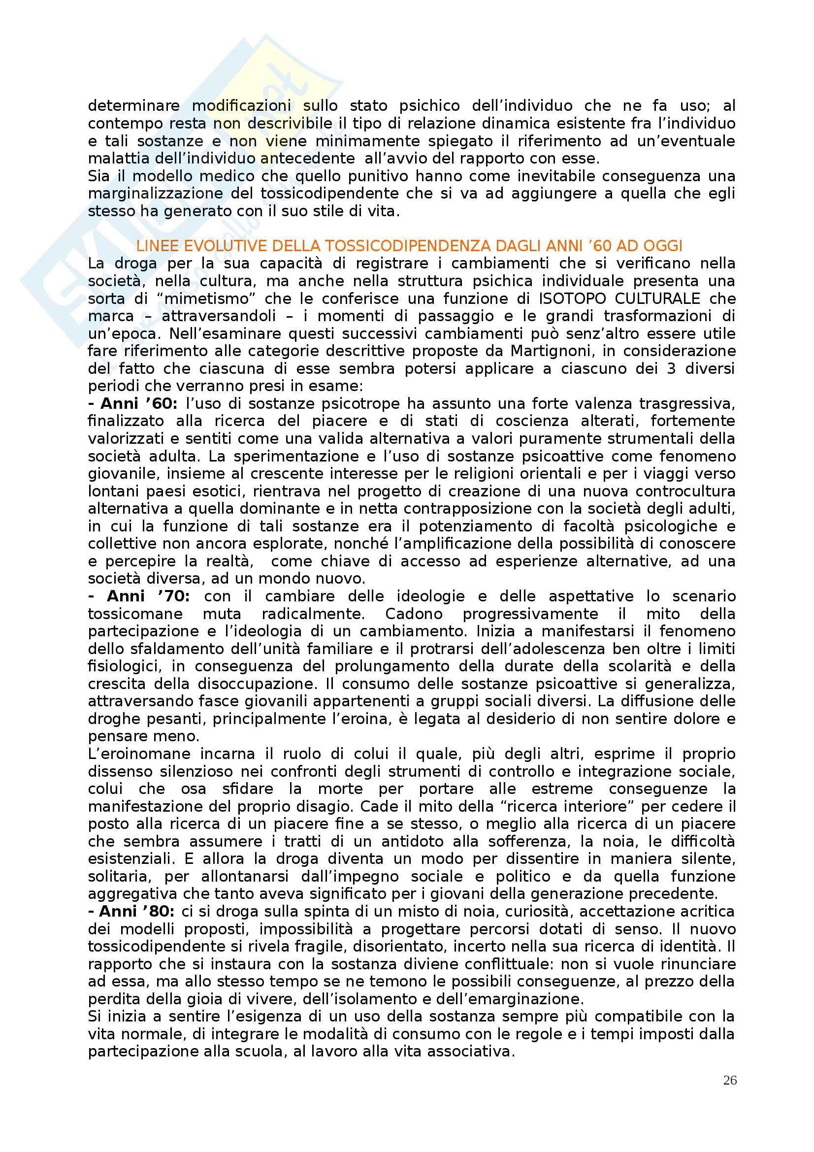 Riassunto esame Psicologia delle Tossicodipendenze, prof. Di Blasi, libro consigliato Il Disagio Giovanile Contemporaneo di Crispi e Mangia Pag. 26
