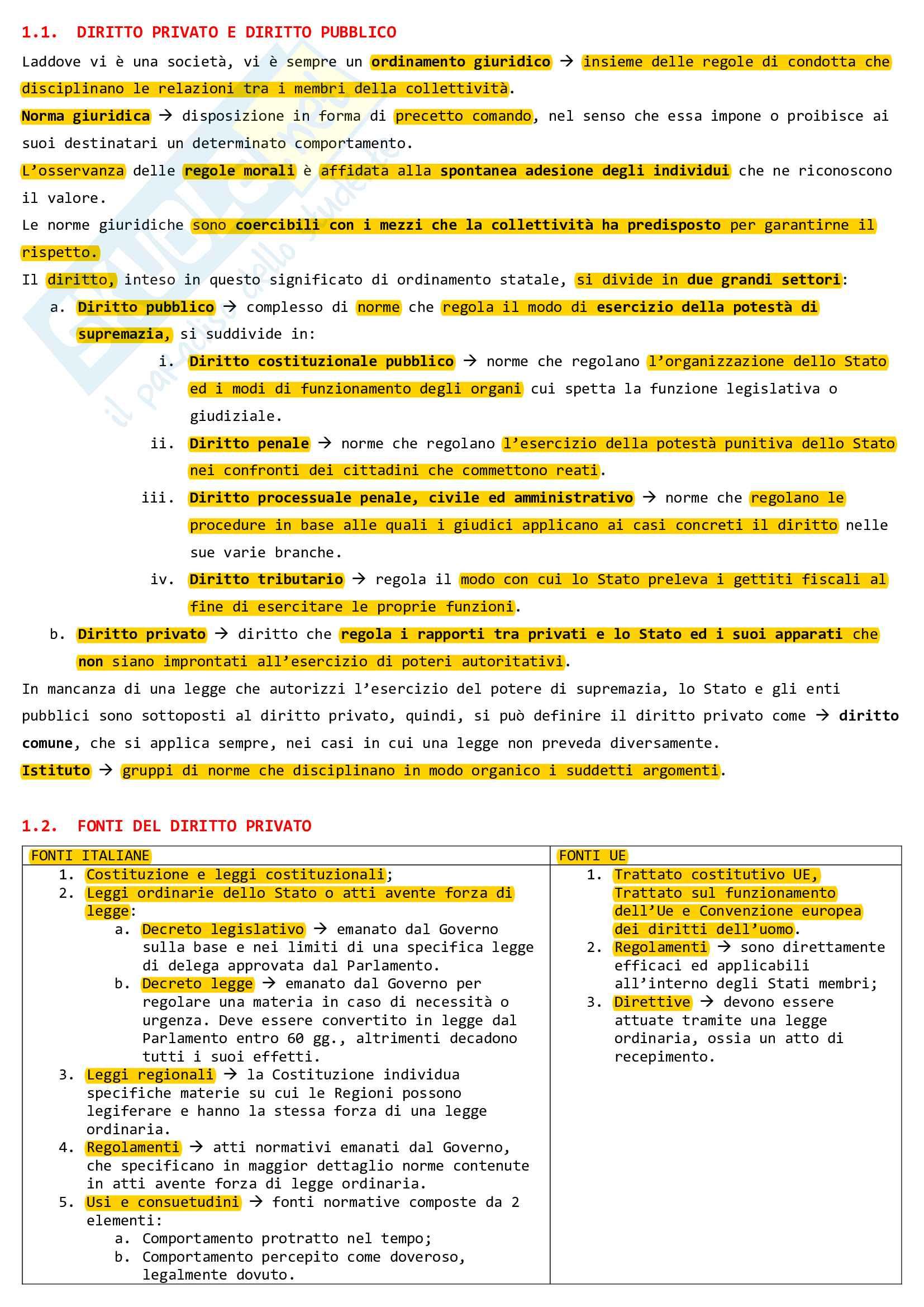 Riassunto esame Diritto Privato, prof. De Franceschi, libro consigliato Nozioni giuridiche fondamentali, Visintini