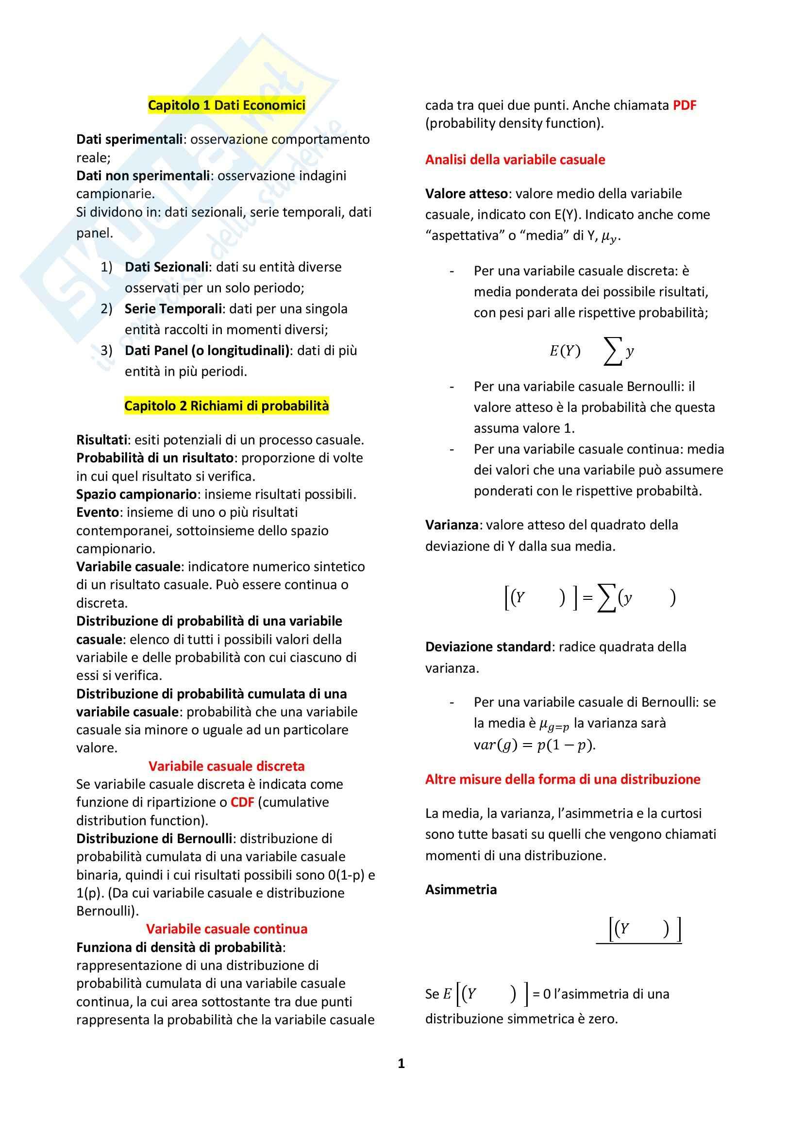 Riassunto esame Econometria, prof. Fiorentini, libro consigliato Introduzione all'Econometria, Stock Watson