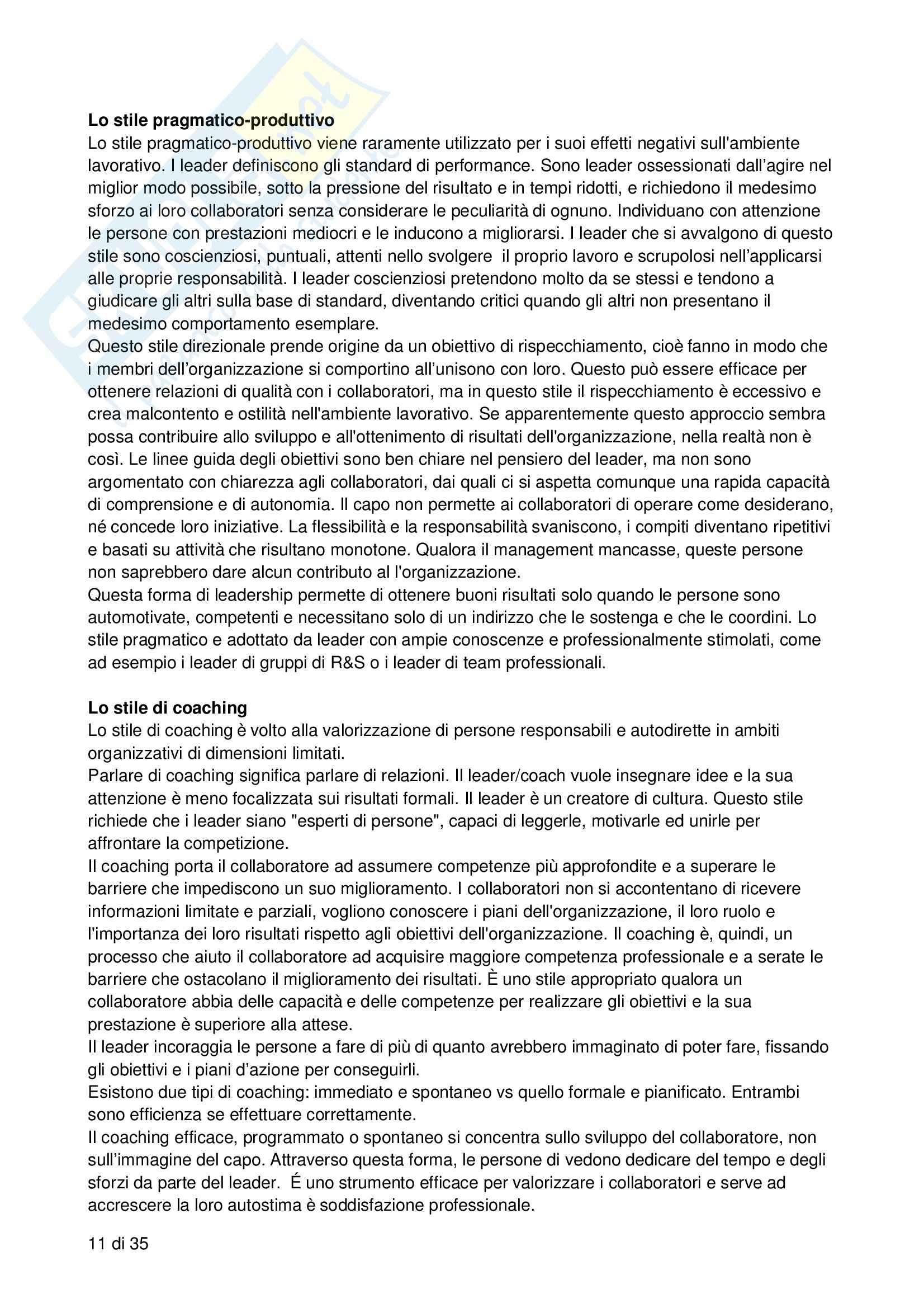 Riassunto esame Processi decisionali, negoziazione e leadership, prof. Bodega, libro consigliato Forme di leadership, Bodega Pag. 11