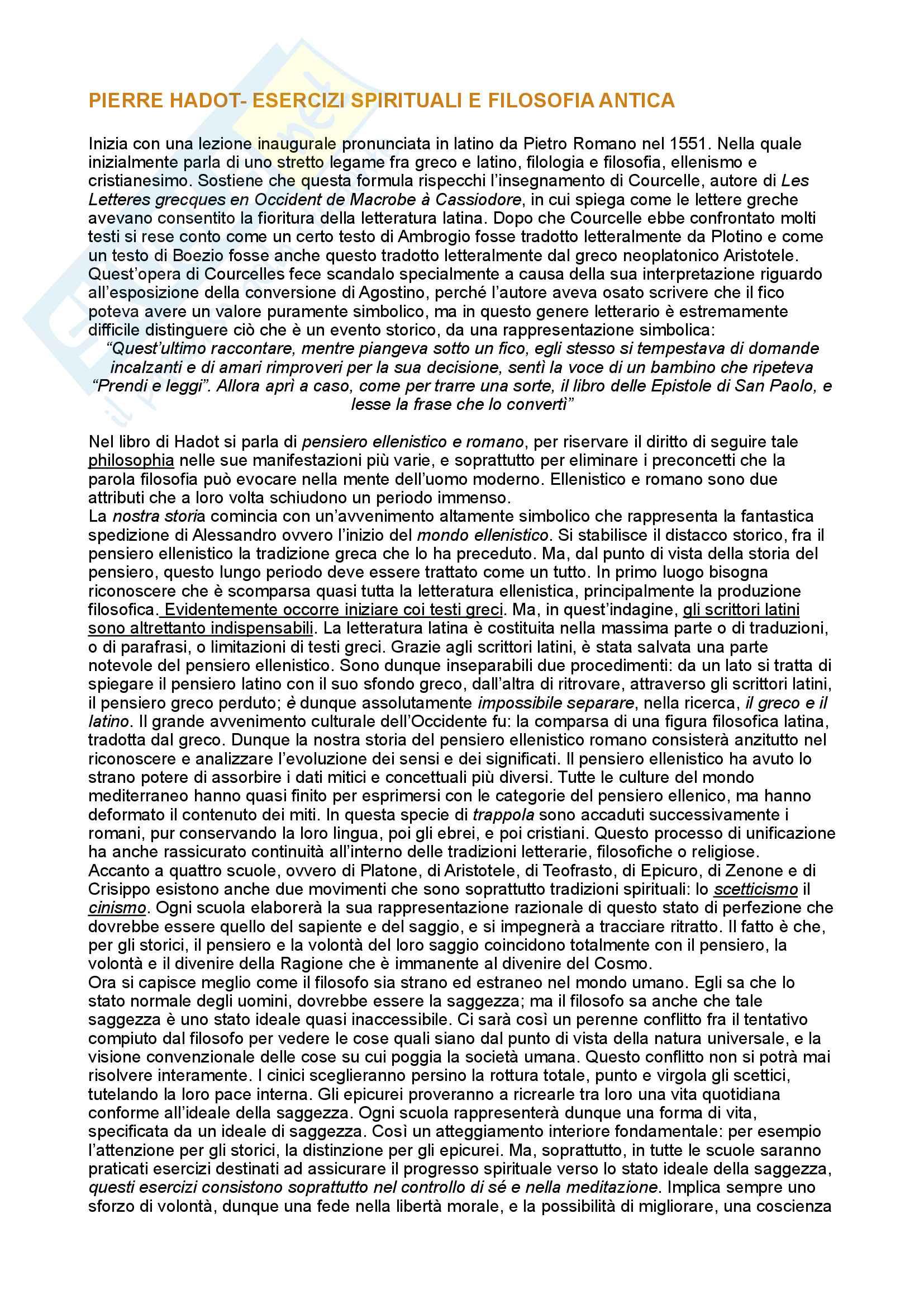 Riassunto esame Ermeneutica, prof. Fabbrichesi, libro consigliato Esercizi spirituali e filosofia antica, Hadot